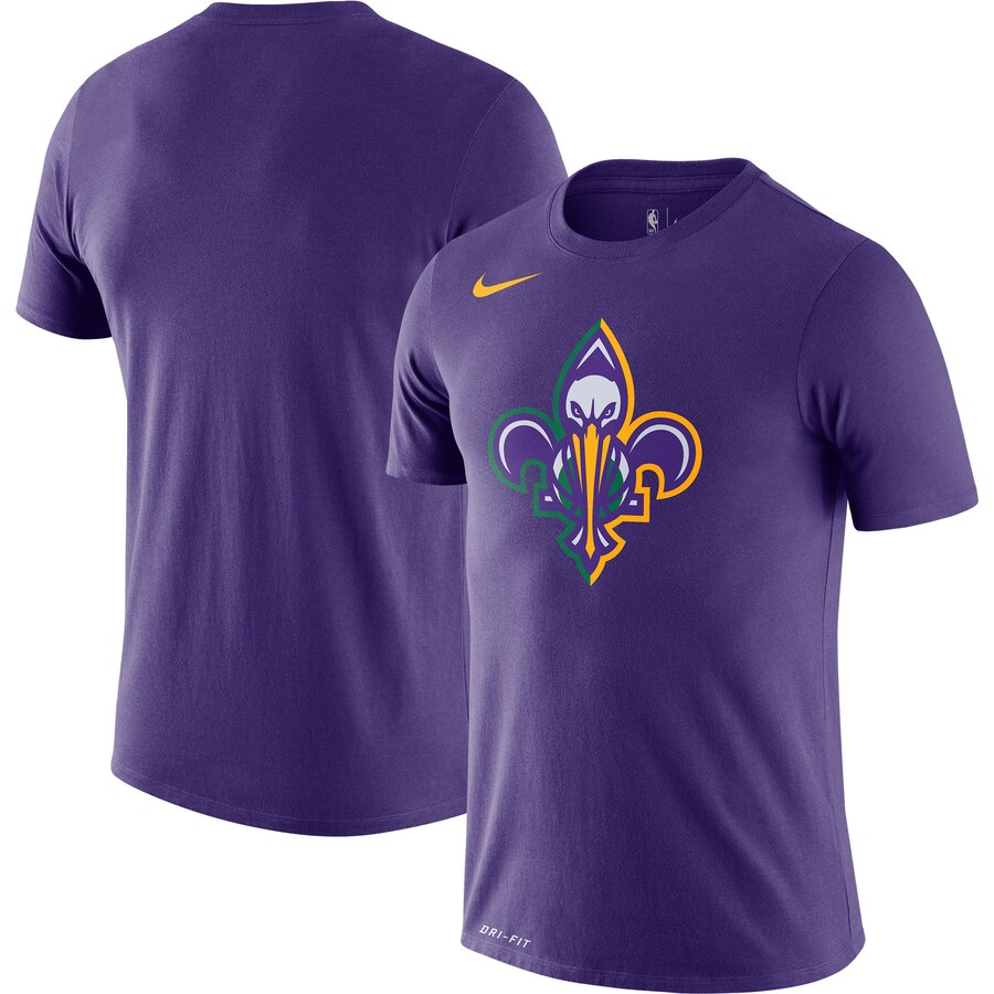 Men 2020 NBA Nike New Orleans Pelicans Purple City Edition Logo DFCT Performance TShirt