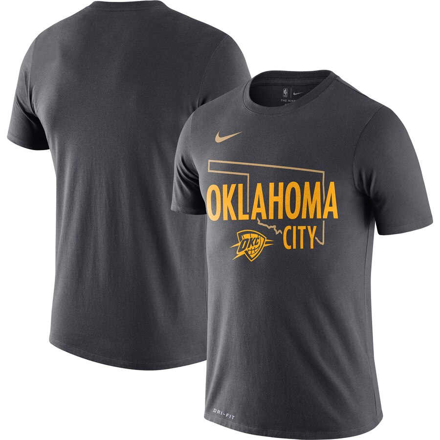 Men 2020 NBA Nike Oklahoma City Thunder Anthracite 201920 City Edition Hometown Performance TShirt