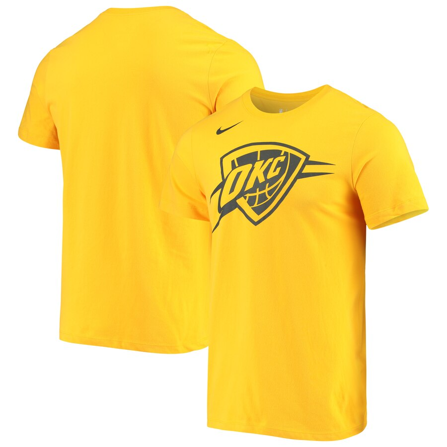 Men 2020 NBA Nike Oklahoma City Thunder Gold City Edition Logo DFCT Performance TShirt