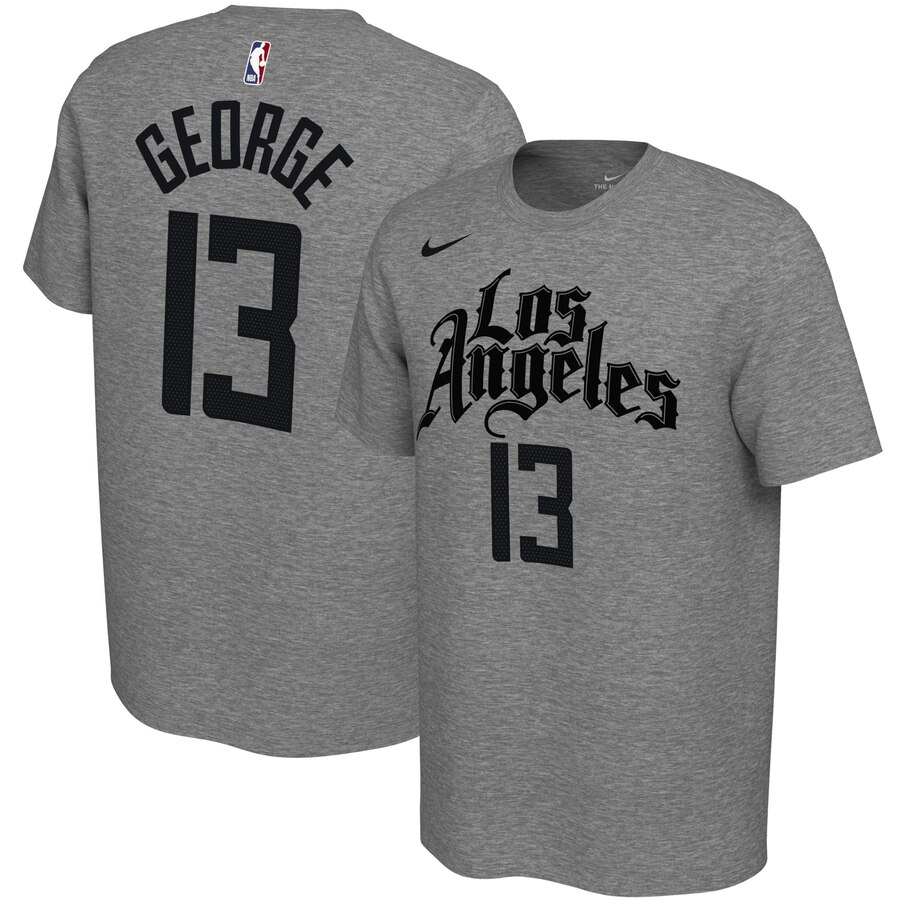 Men 2020 NBA Nike Paul George LA Clippers Gray 201920 City Edition Variant Name Number TShirt.