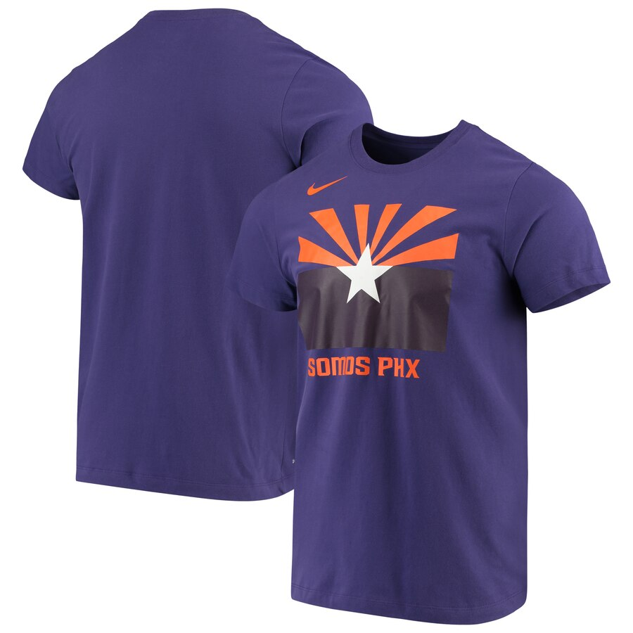 Men 2020 NBA Nike Phoenix Suns Purple City Edition Logo DFCT Performance TShirt