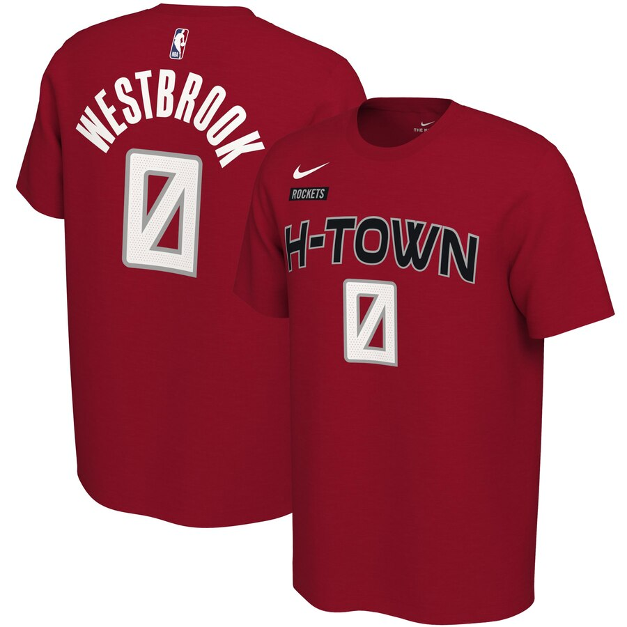 Men 2020 NBA Nike Russell Westbrook Houston Rockets Red 201920 City Edition Variant Name Number TShirt