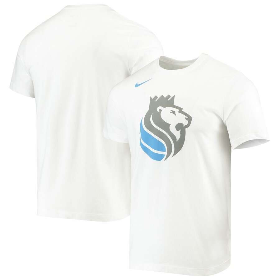 Men 2020 NBA Nike Sacramento Kings White City Edition Logo DFCT Performance TShirt