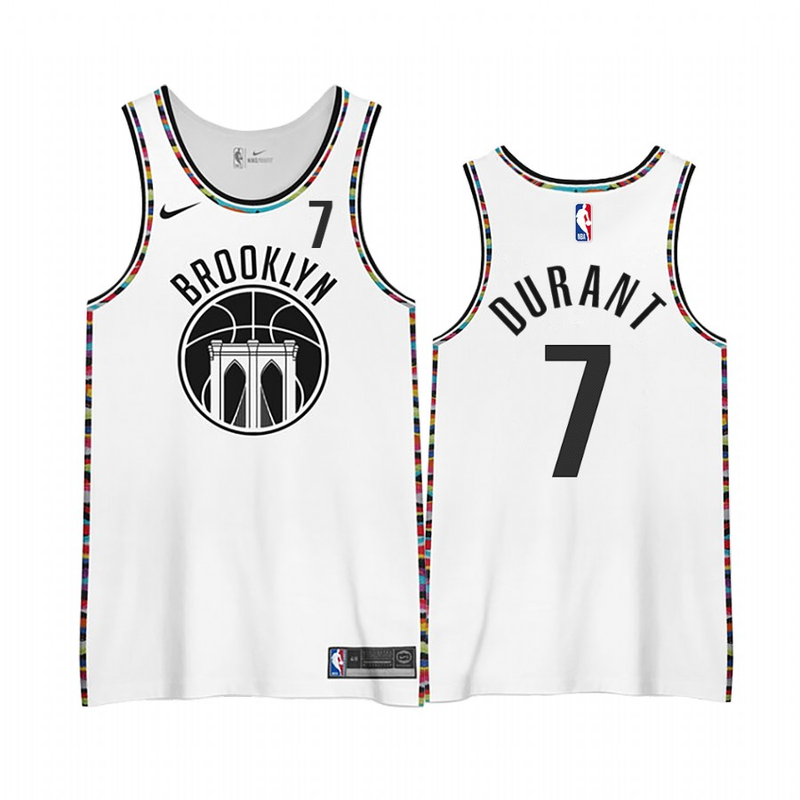 Men 2021 Men Brooklyn Nets 7 Durant White city edition Nike NBA Jerseys