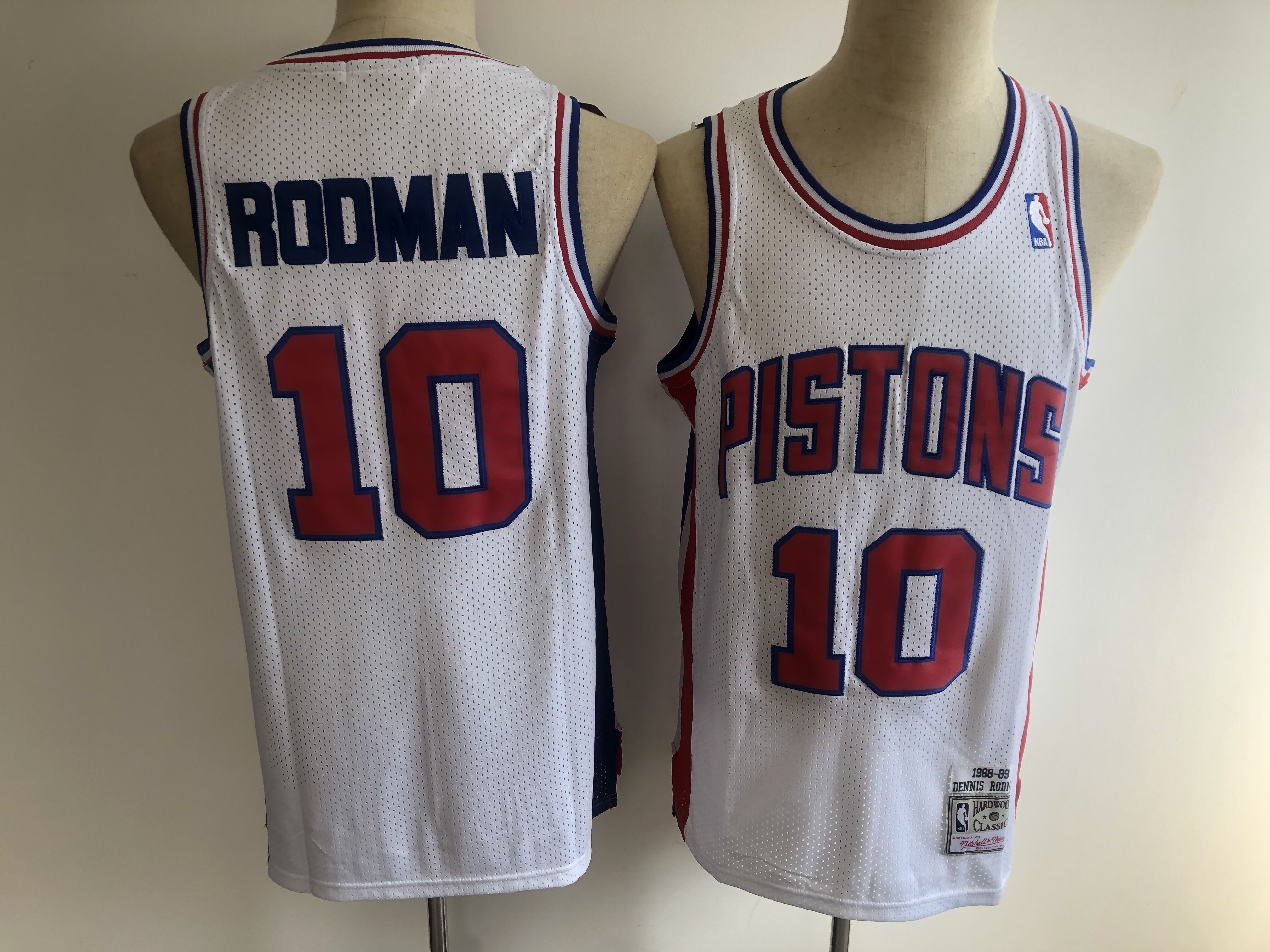 Men Detroit Pistons 10 Rodman white NBA jerseys