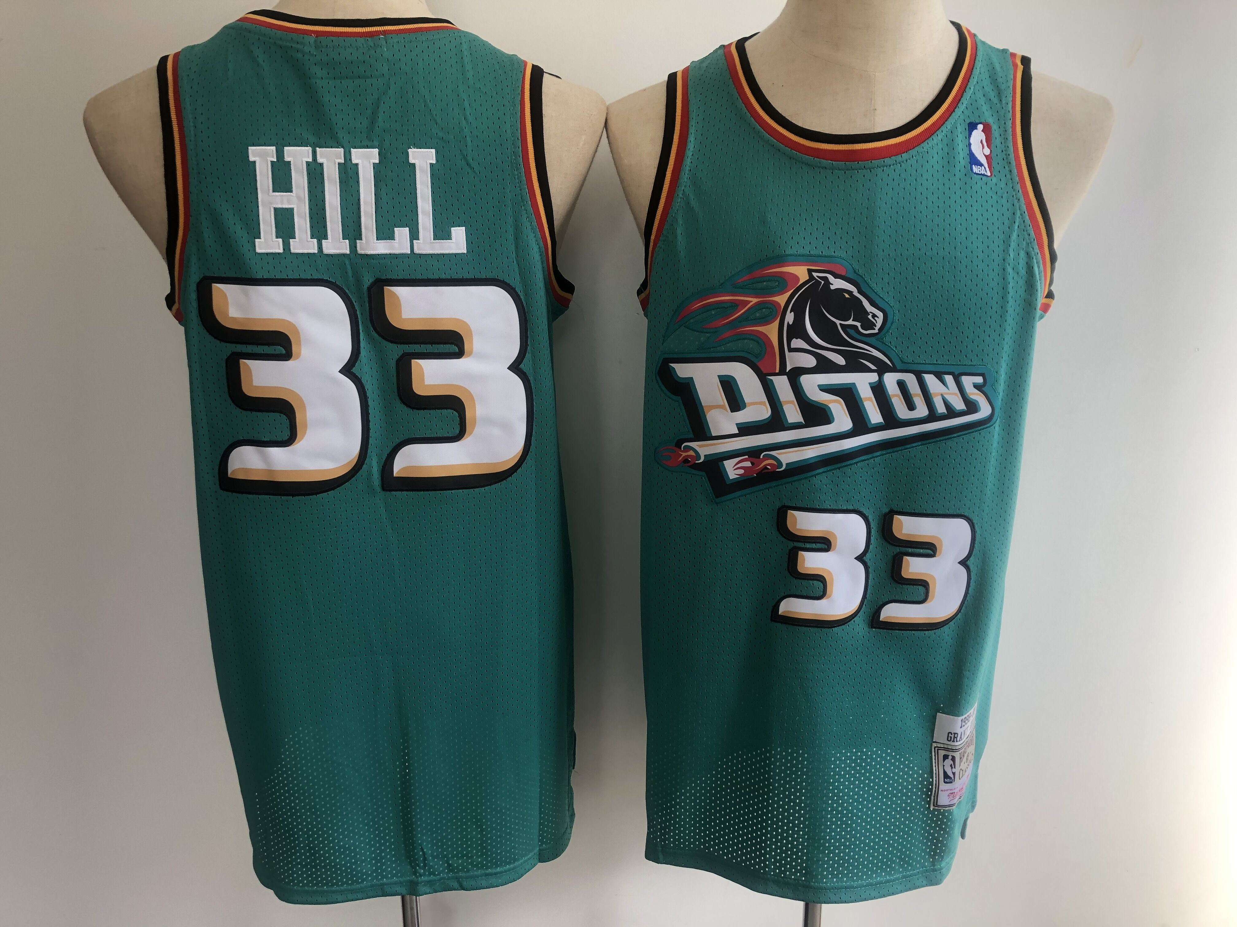 Men Detroit Pistons 33 Grant Hill green NBA jerseys