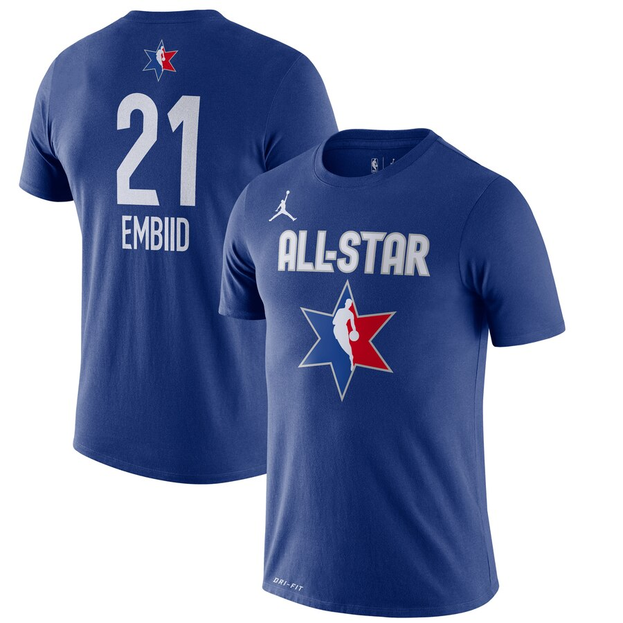 Men Jordan Brand Joel Embiid Blue 2020 NBA AllStar Game Name & Number Player TShirt