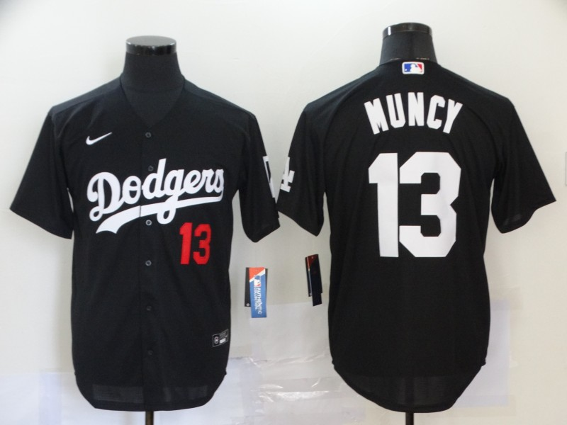 Men Los Angeles Dodgers 13 Muncy Black Nike Game MLB Jerseys