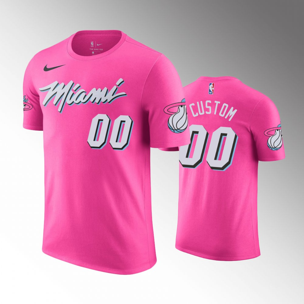 Men Miami Heat 00 Custom 2018-19 Earned Pink NBA T-Shirt
