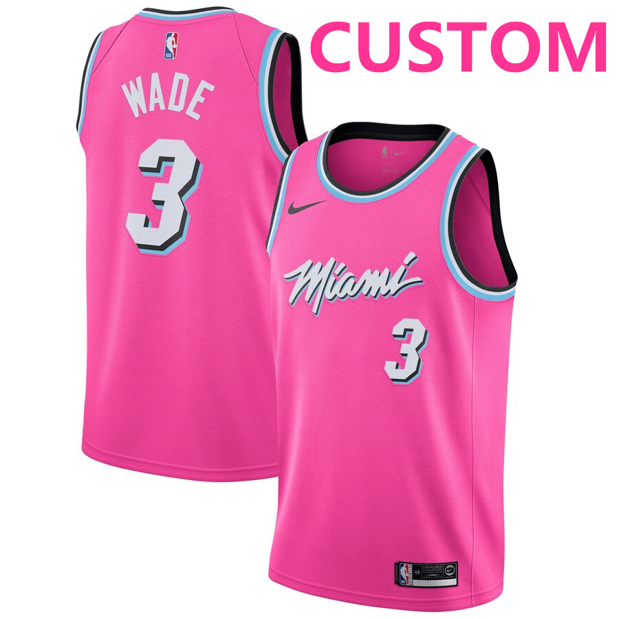 Men Miami Heat Custom Nike Pink 2018-19 Swingman Earned Edition Jersey