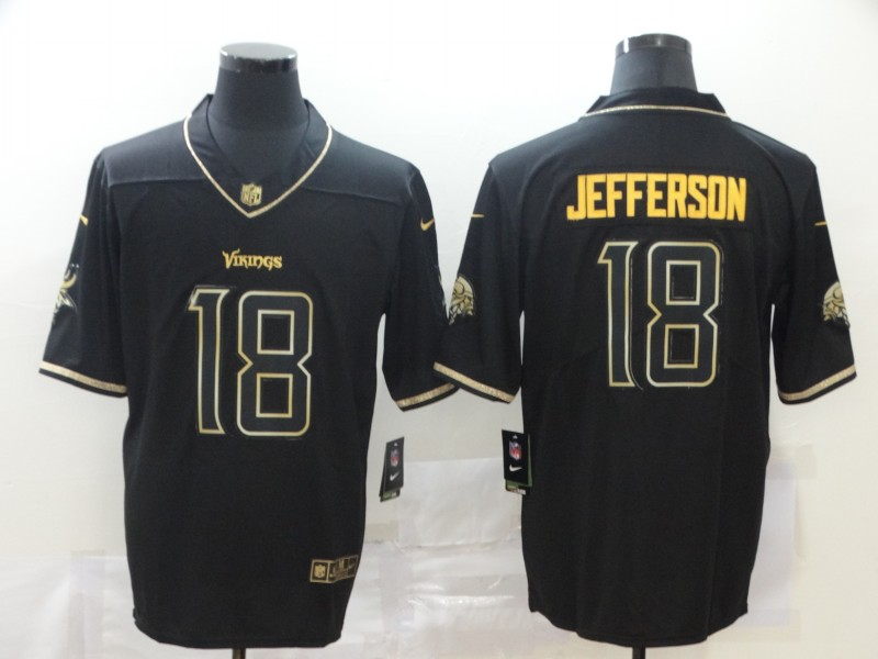 Men Minnesota Vikings 18 Jefferson black Nike Limited NFL Jerseys