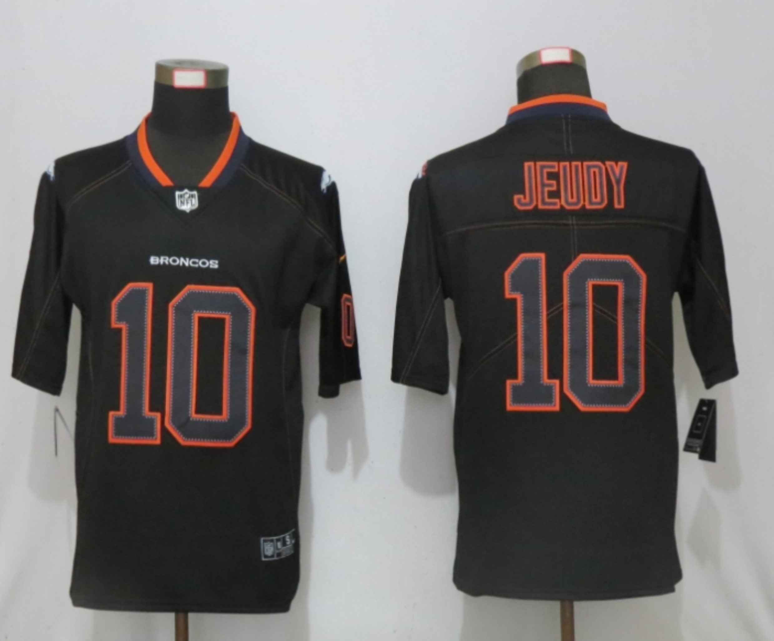 Men NEW Nike Denver Broncos 10 Jeudy Lights Out Black Elite Jerseys