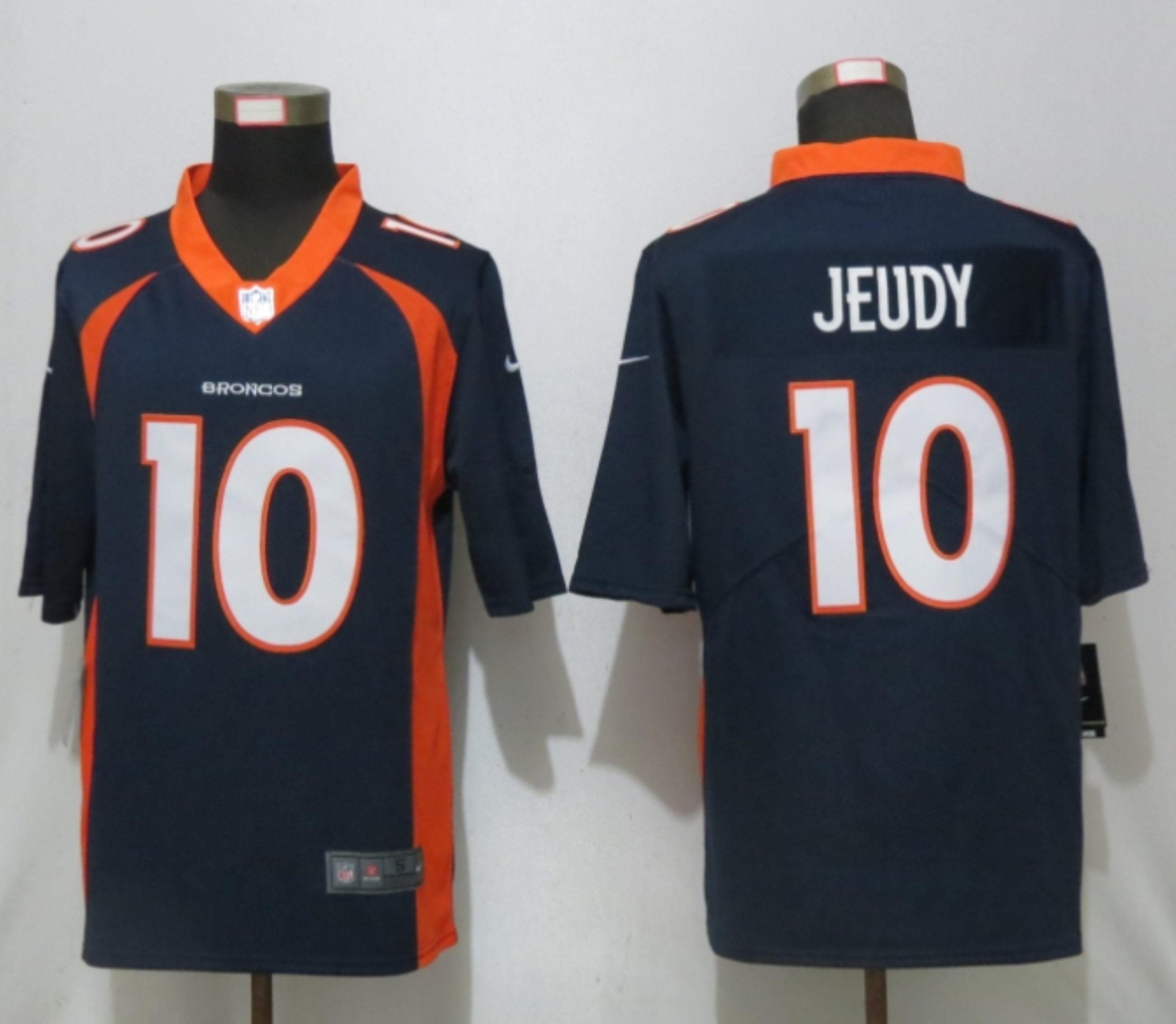 Men NEW Nike Denver Broncos 10 Jeudy Nike Blue 2020 NFL Draft First Round Pick Game Jersey