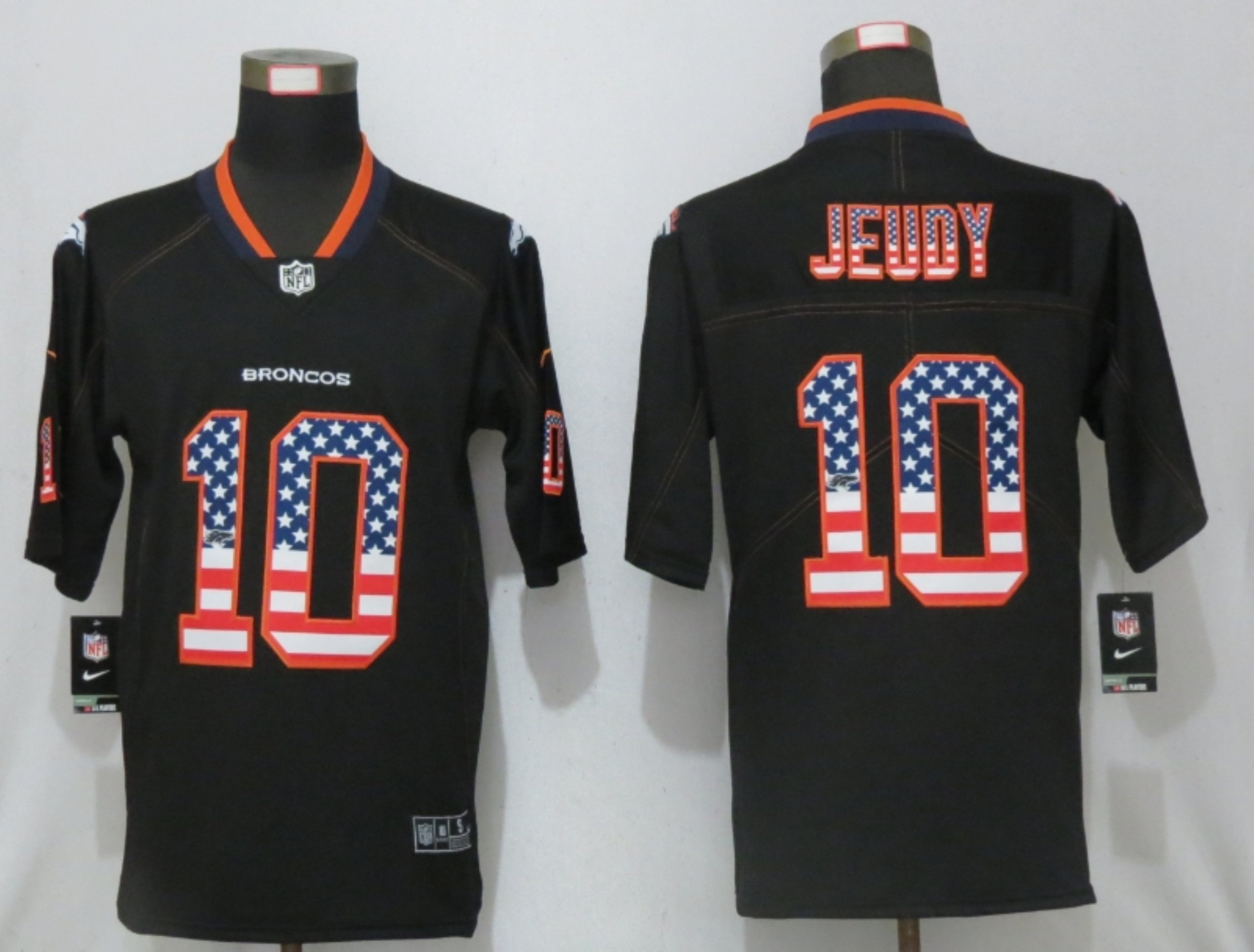 Men NEW Nike Denver Broncos 10 Jeudy USA Flag Fashion Black Elite Jersey