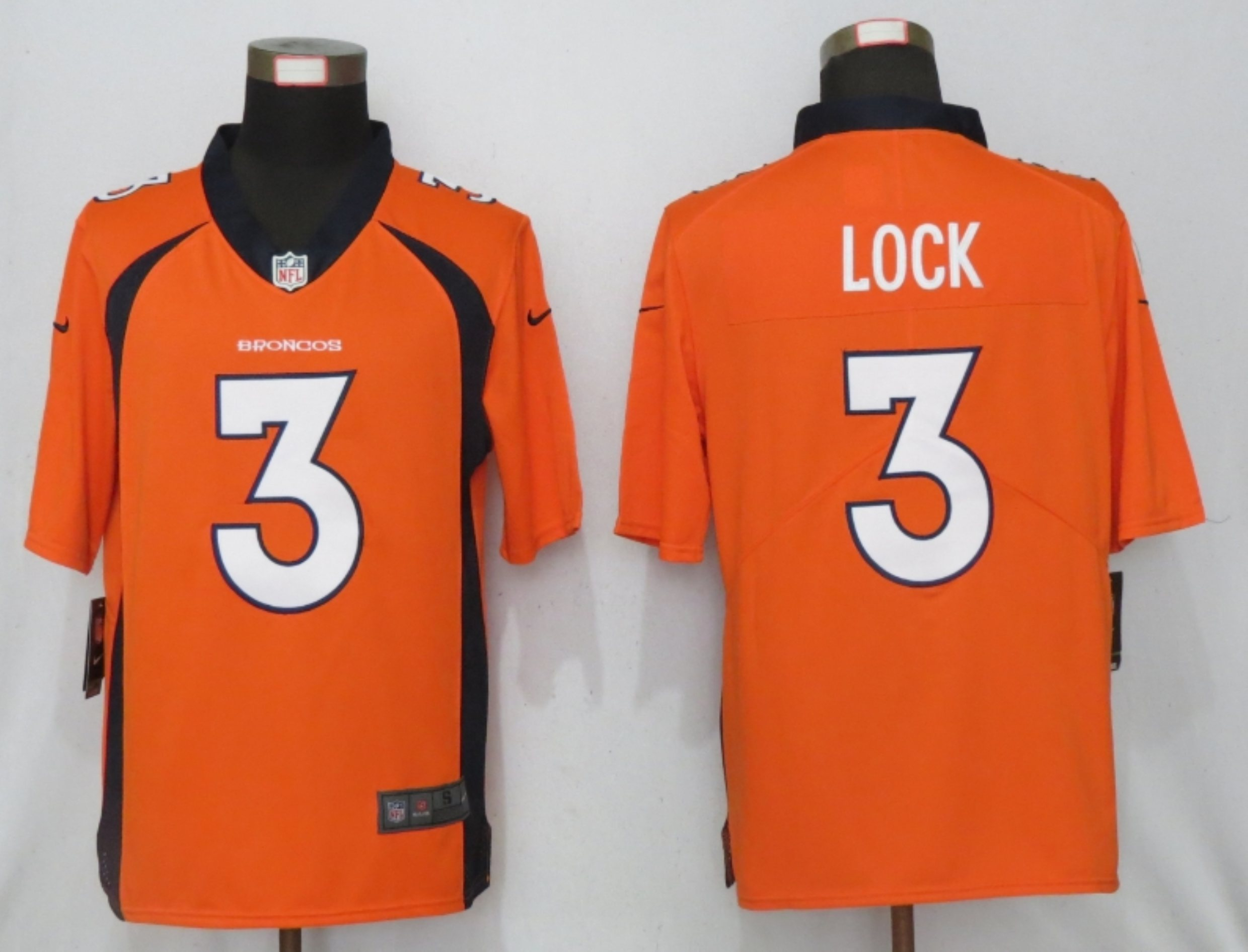 Men NEW Nike Denver Broncos 3 Lock Nike Orange 2020 NFL Draft First Round Pick Game Jersey