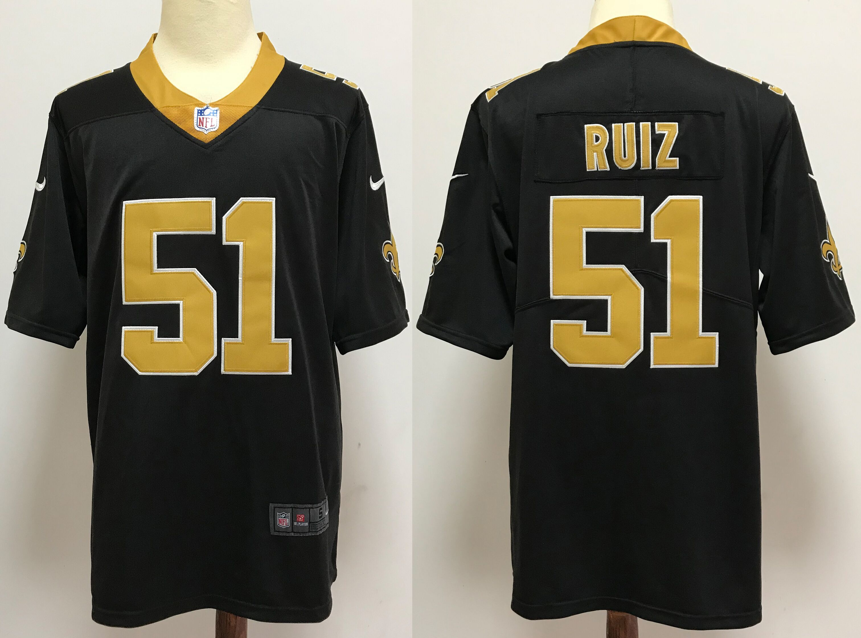 Men NFL New Orleans Saints 51 Ruiz black Nike jerseys