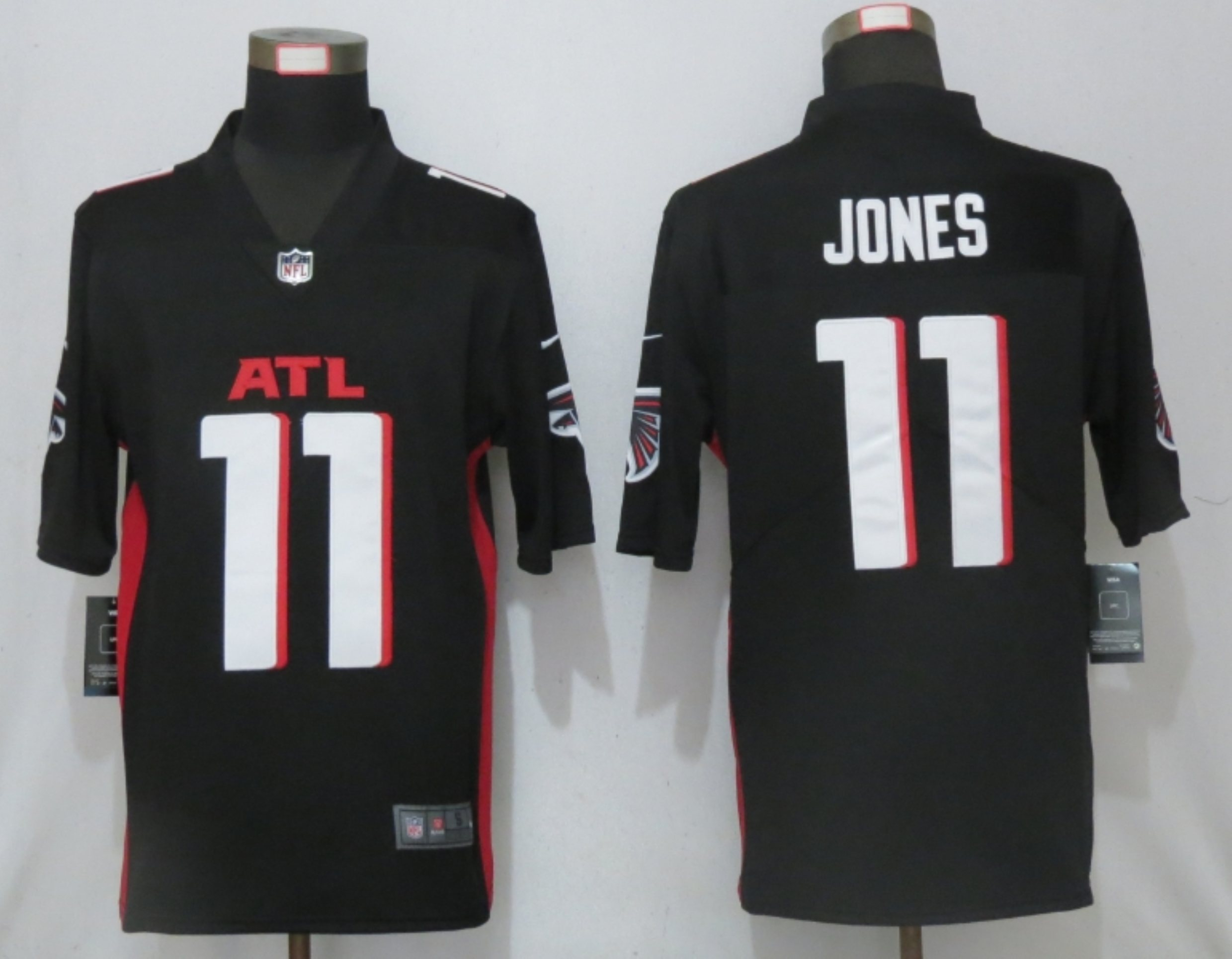 Men New Nike Atlanta Falcons 11 Jones Black Game Jersey