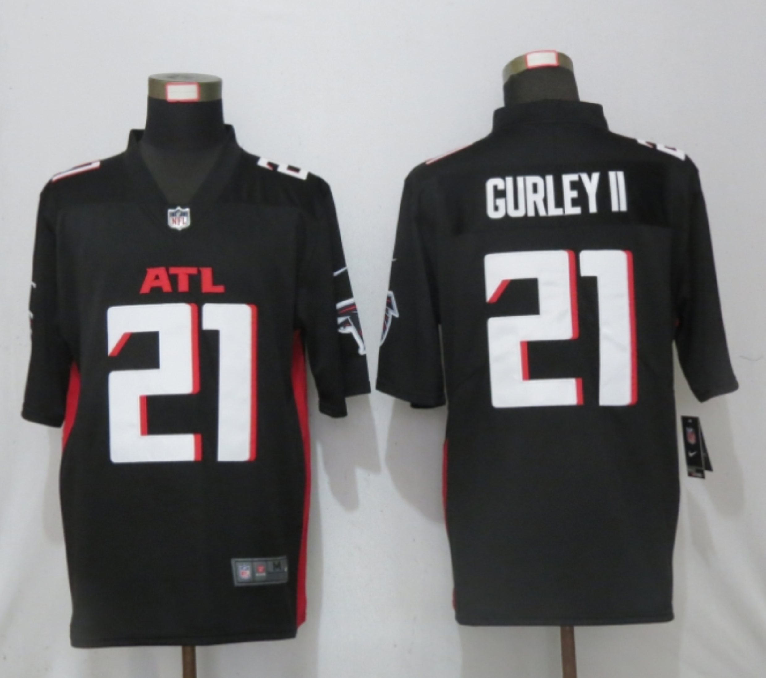 Men New Nike Atlanta Falcons 21 Gurley II Black Game Jersey