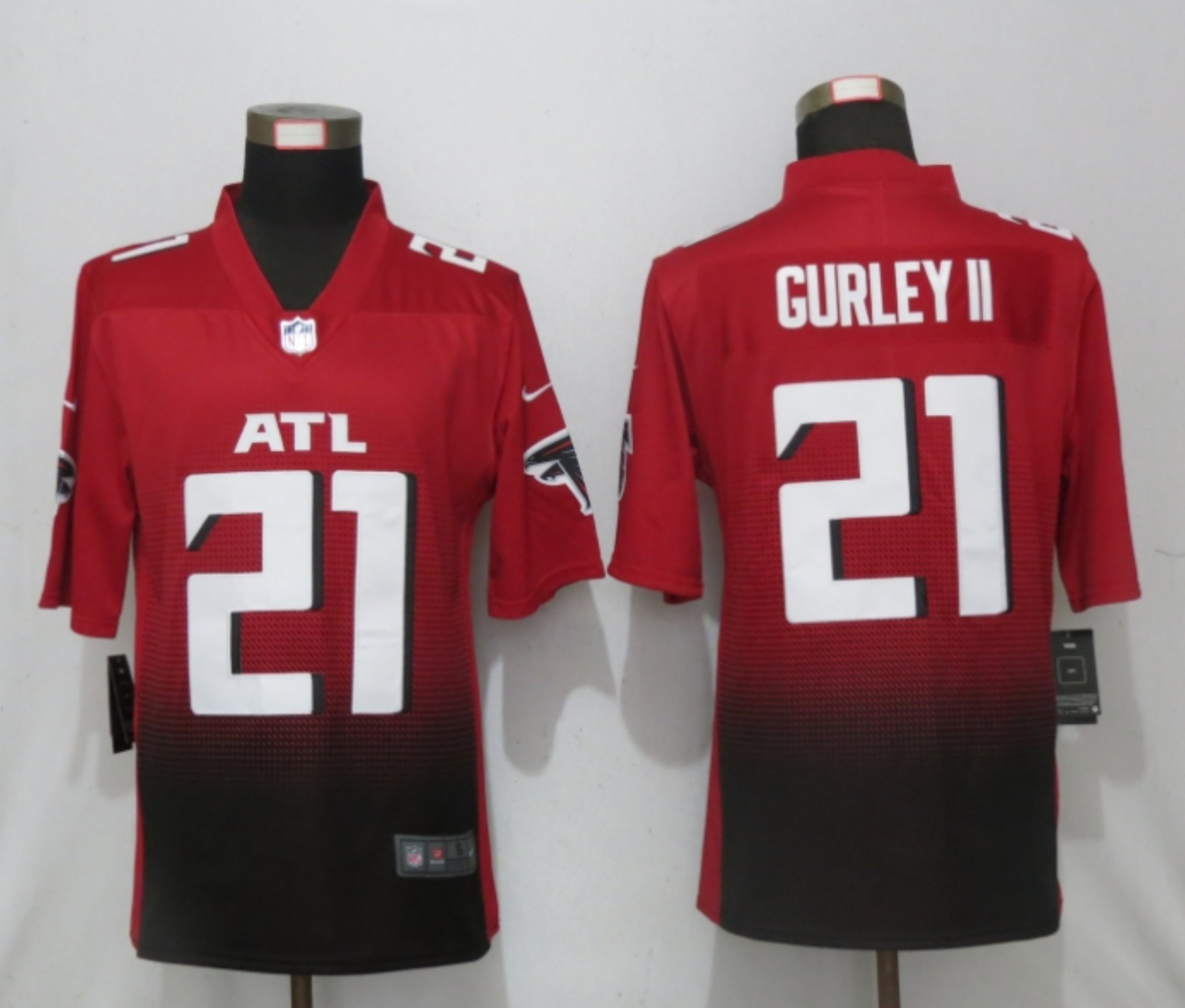 Men New Nike Atlanta Falcons 21 Gurley II Red 2nd Alternate Game Jersey