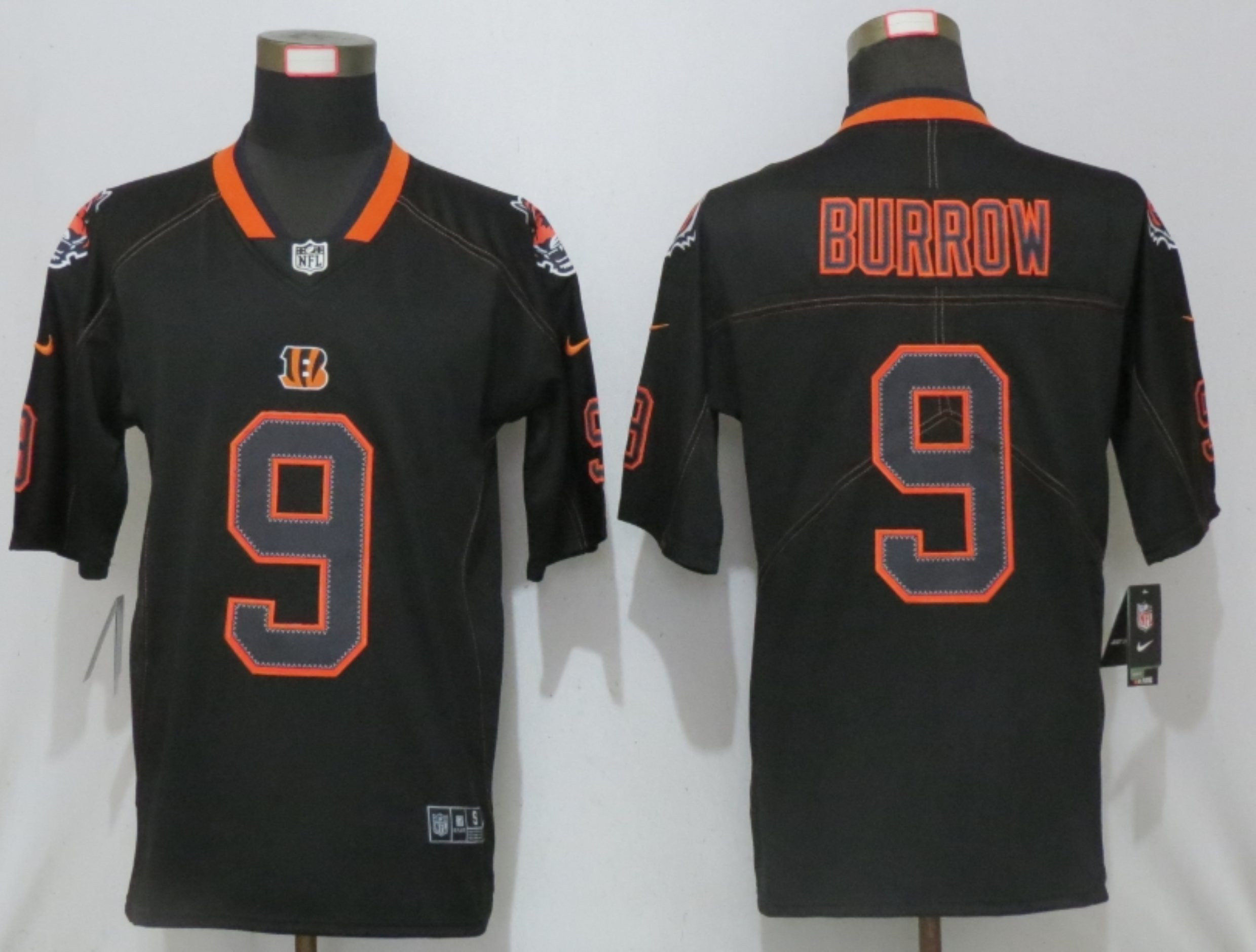 Men New Nike Cincinnati Bengals 9 Burrow Lights Out Black Elite Jerseys