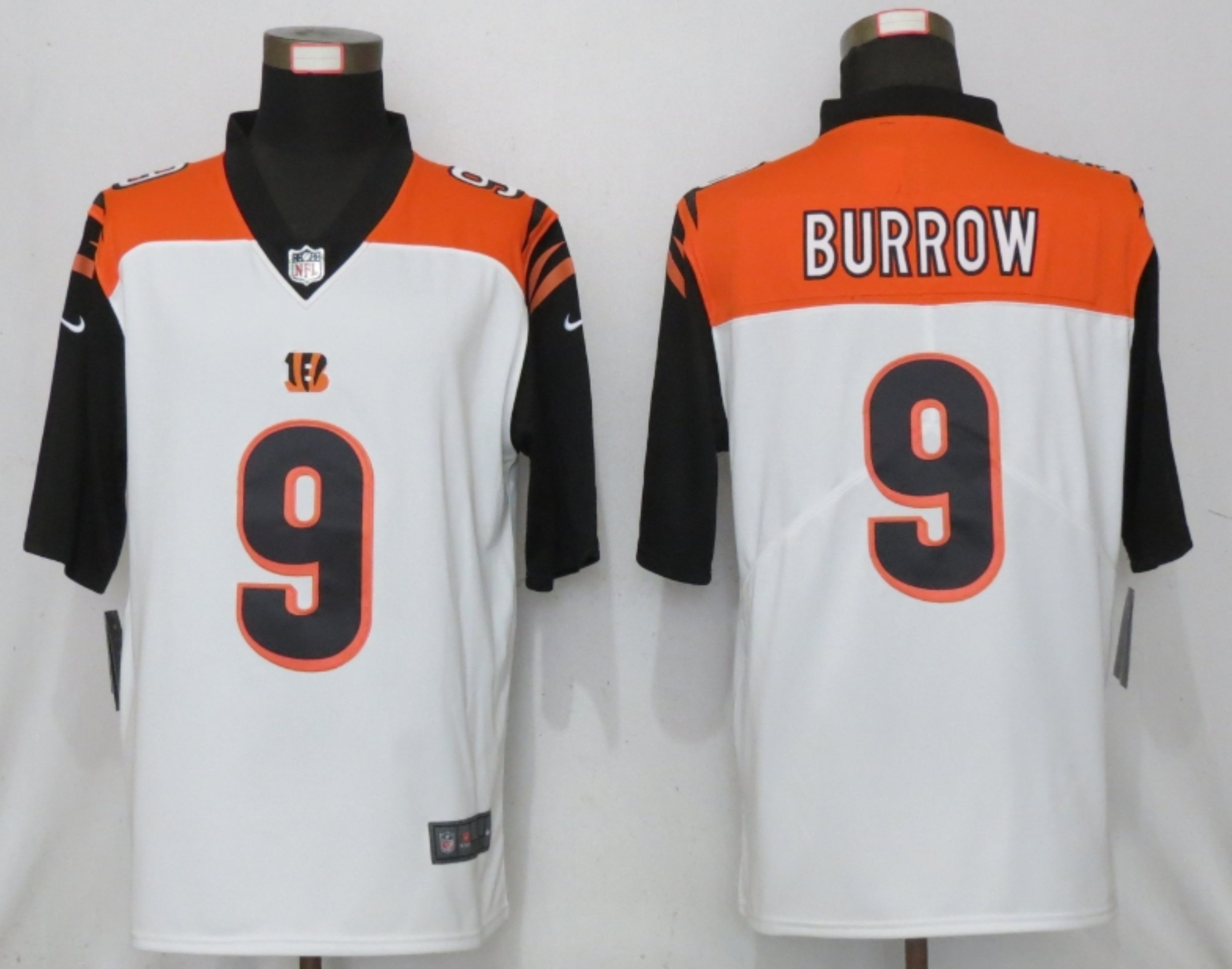 Men New Nike Cincinnati Bengals 9 Burrow Nike White NFL 100 Vapor Limited Jersey