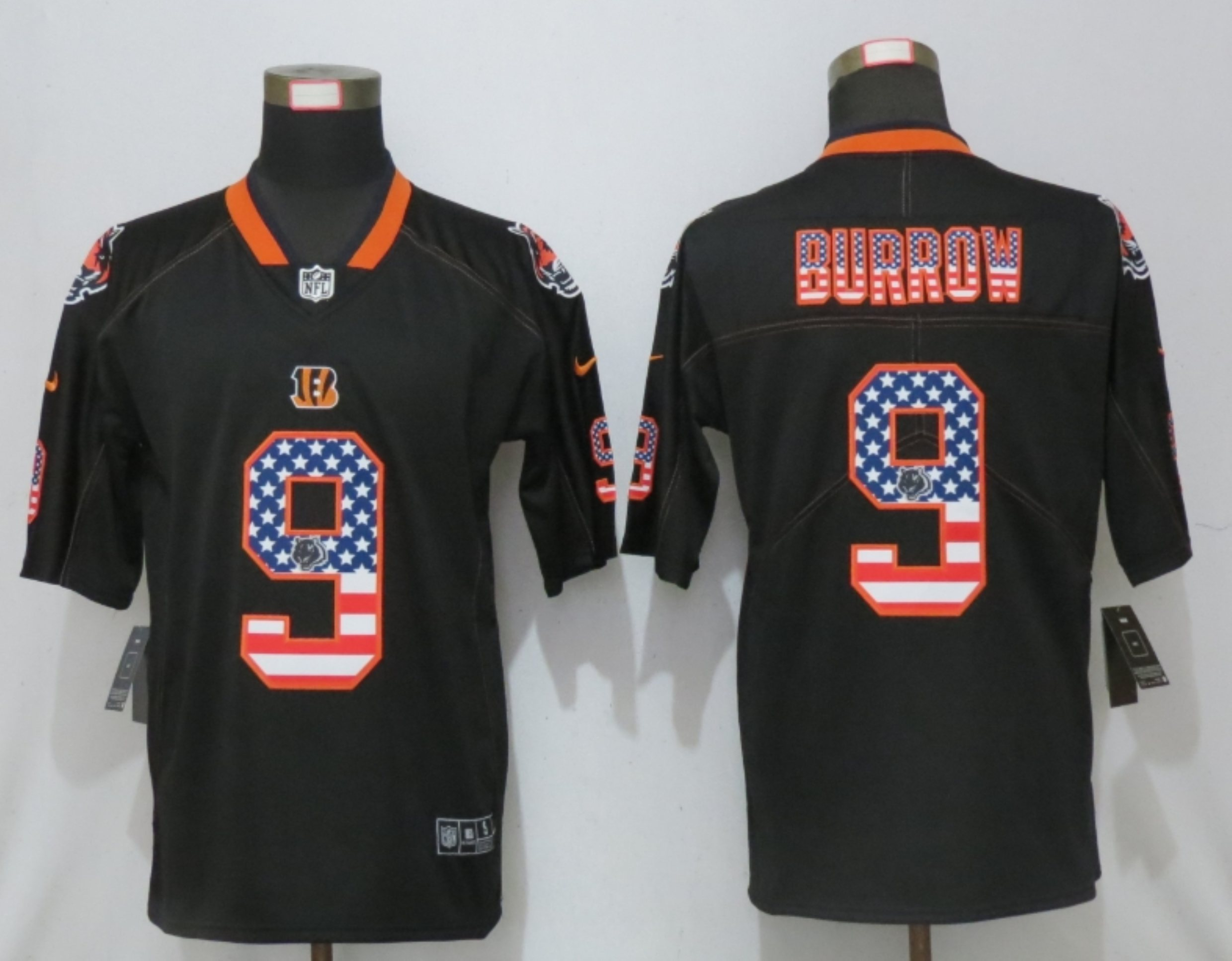 Men New Nike Cincinnati Bengals 9 Burrow USA Flag Fashion Black Elite Jersey