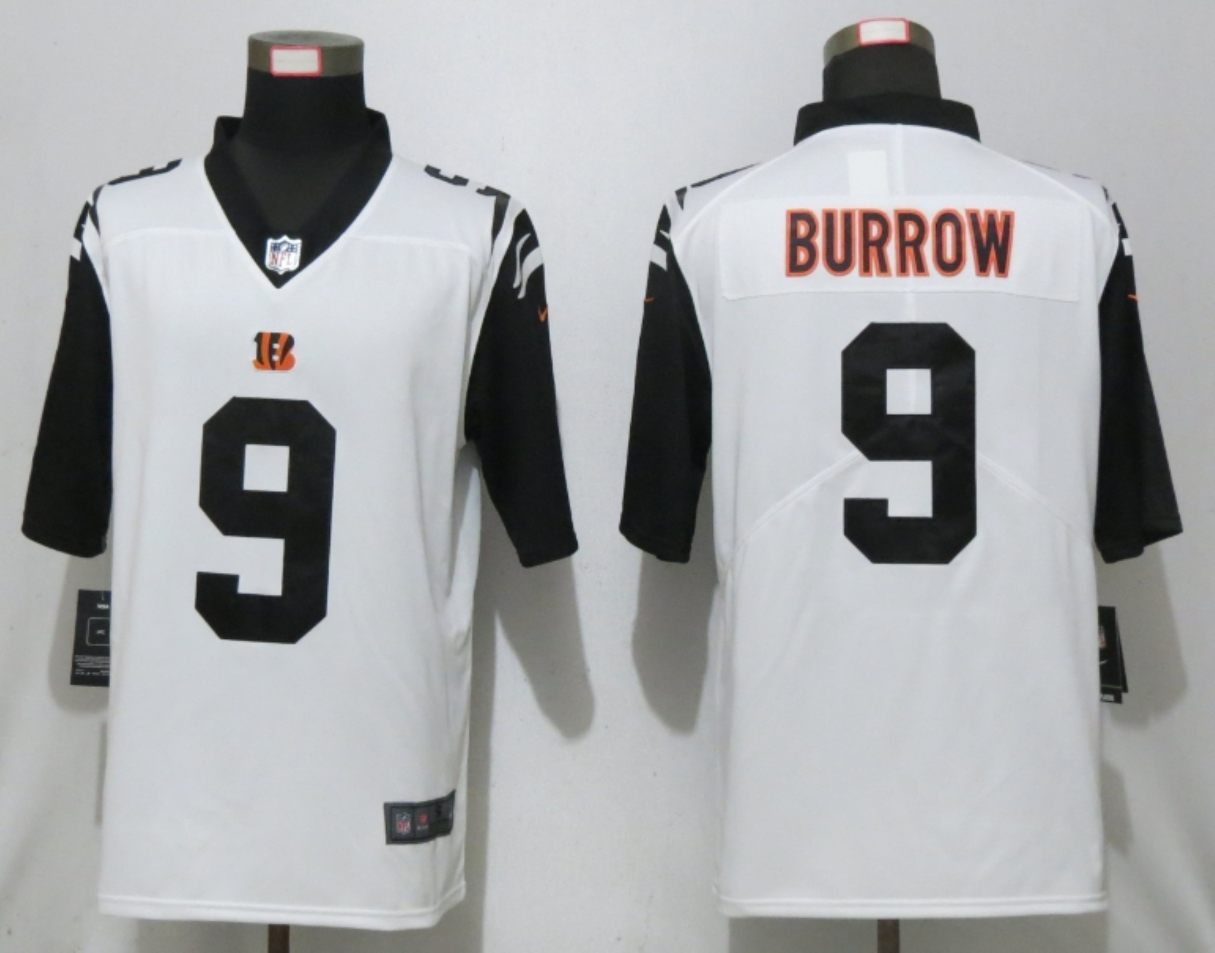 Men New Nike Cincinnati Bengals 9 Burrow White 2nd Alternate Vapor Limited Jersey