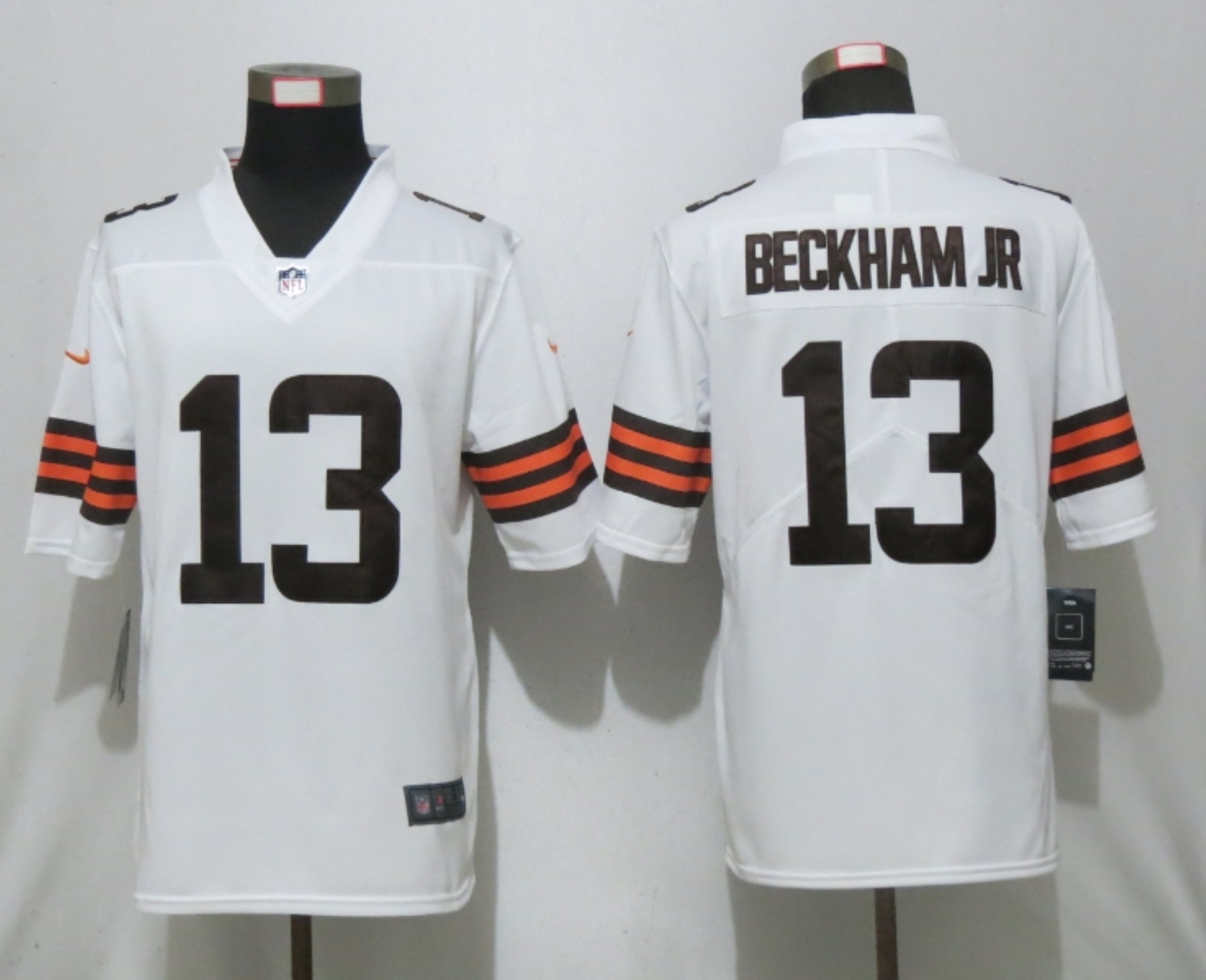 Men New Nike Cleveland Browns 13 Beckham jr White Vapor Limited Player Jersey