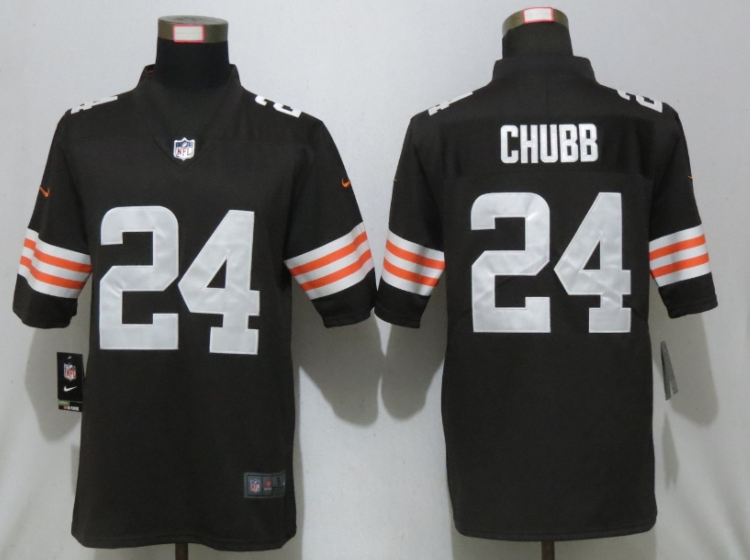 Men New Nike Cleveland Browns 24 Chubb Brown Vapor Limited Player Jersey