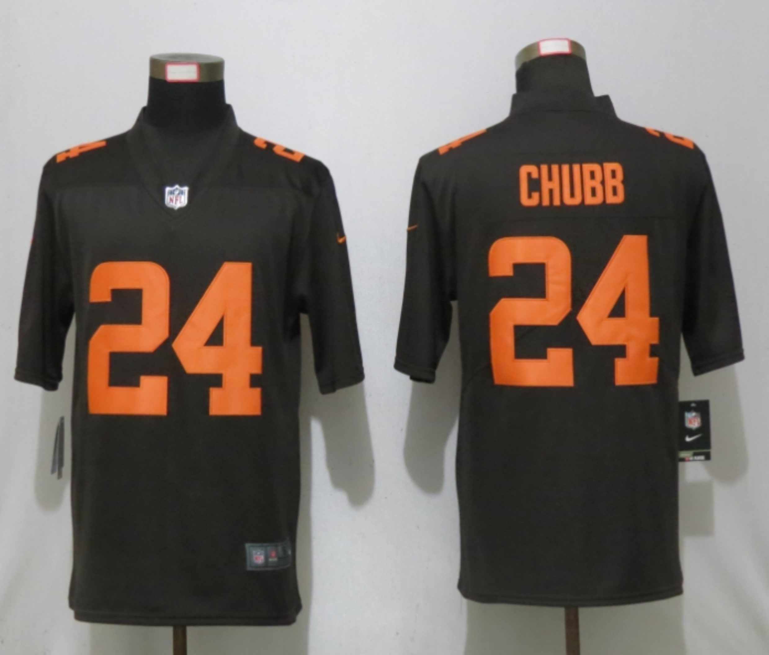 Men New Nike Cleveland Browns 24 Chubb Brown lternate Vapor Limited Jersey