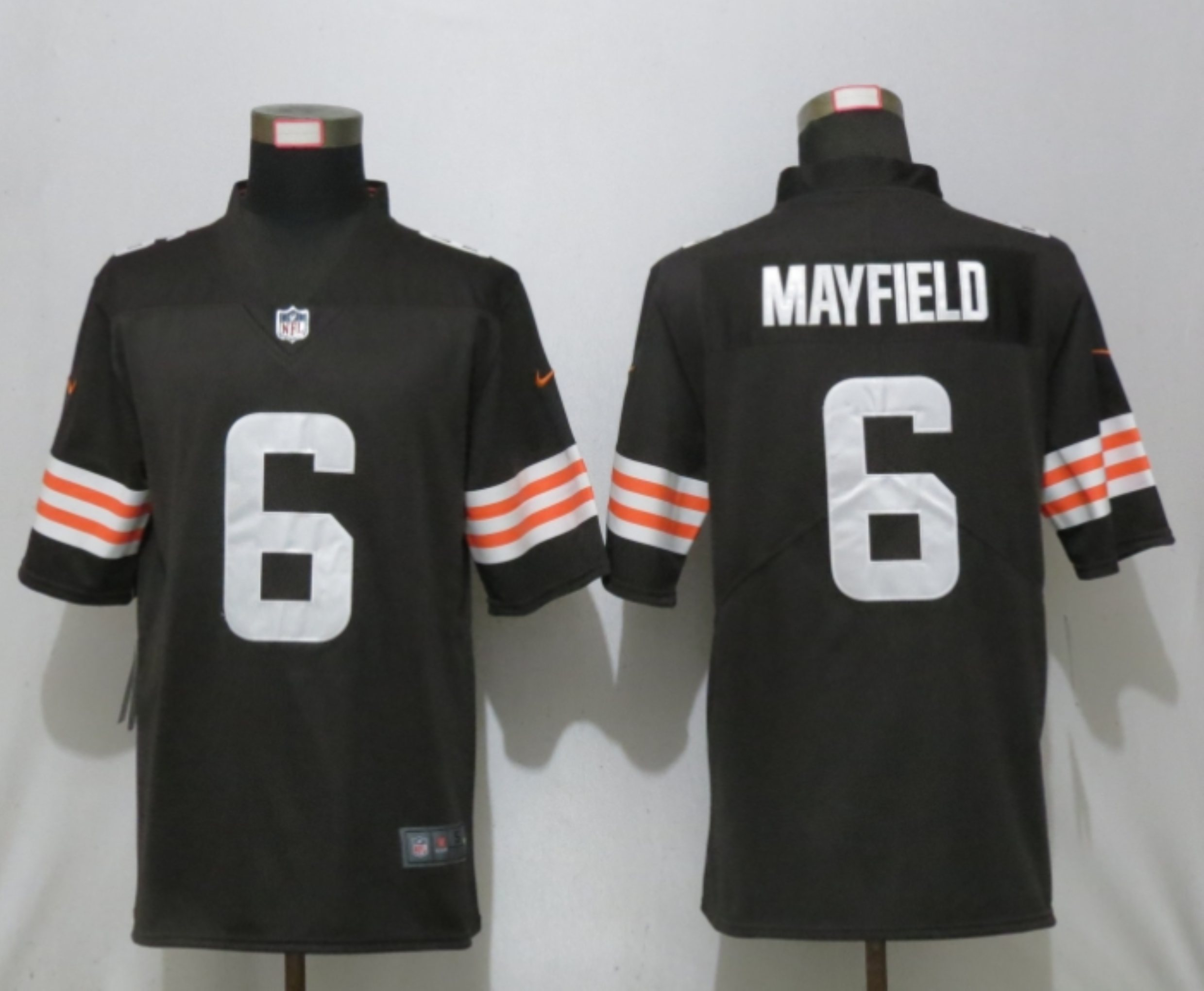 Men New Nike Cleveland Browns 6 Mayfield Brown Vapor Limited Player Jersey