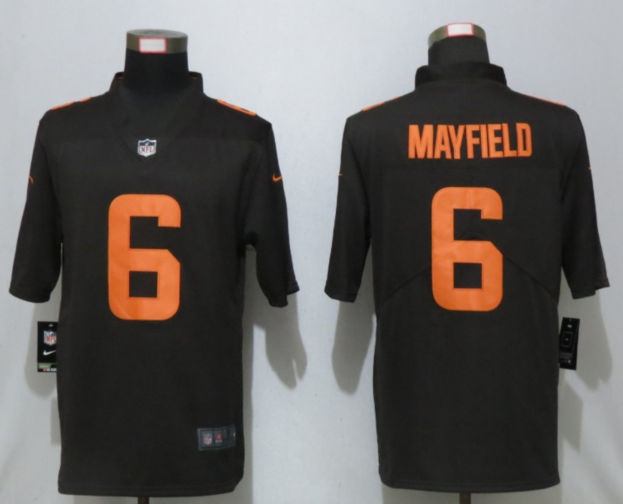 Men New Nike Cleveland Browns 6 Mayfield Brown lternate Vapor Limited Jersey