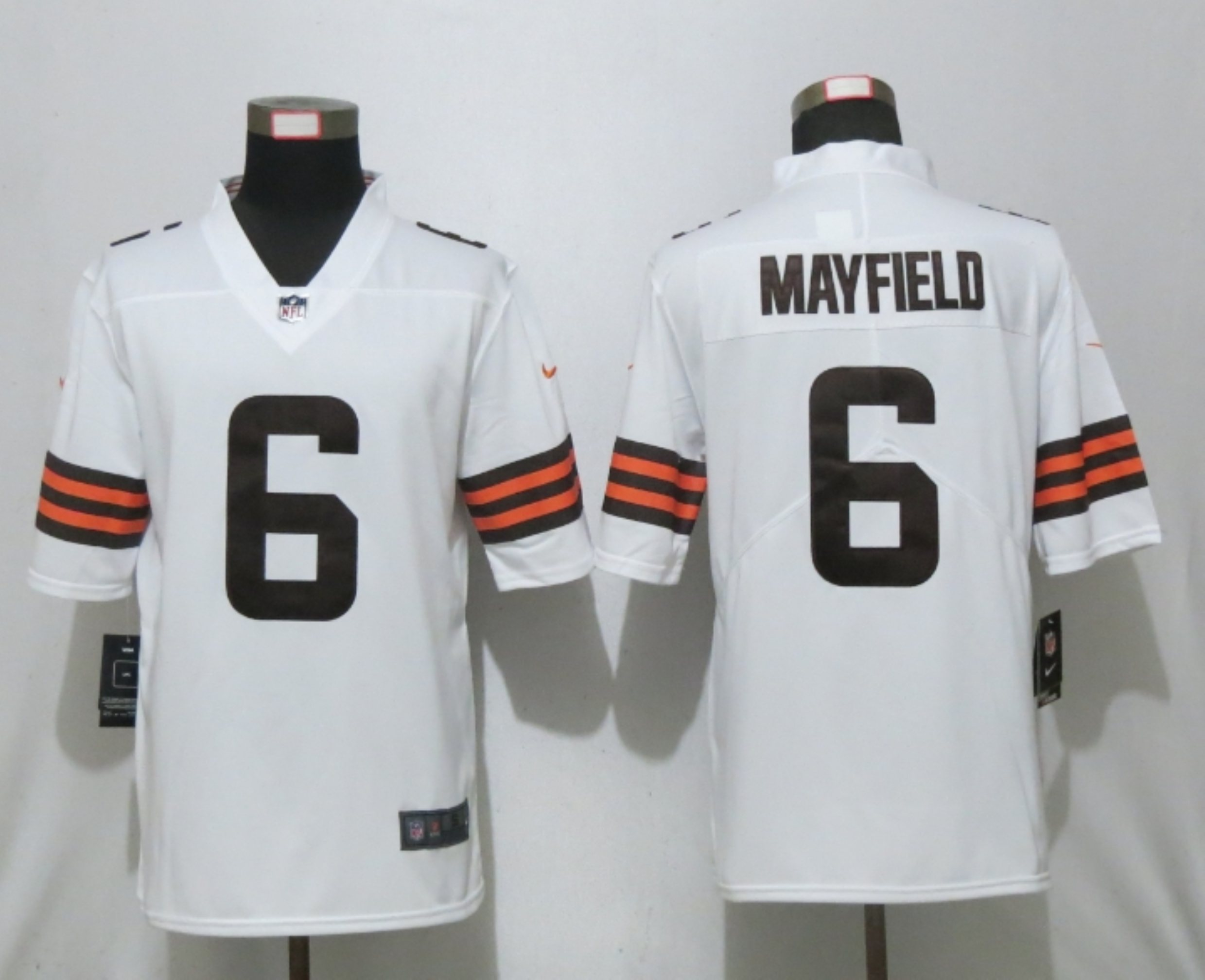 Men New Nike Cleveland Browns 6 Mayfield White Vapor Limited Player Jersey