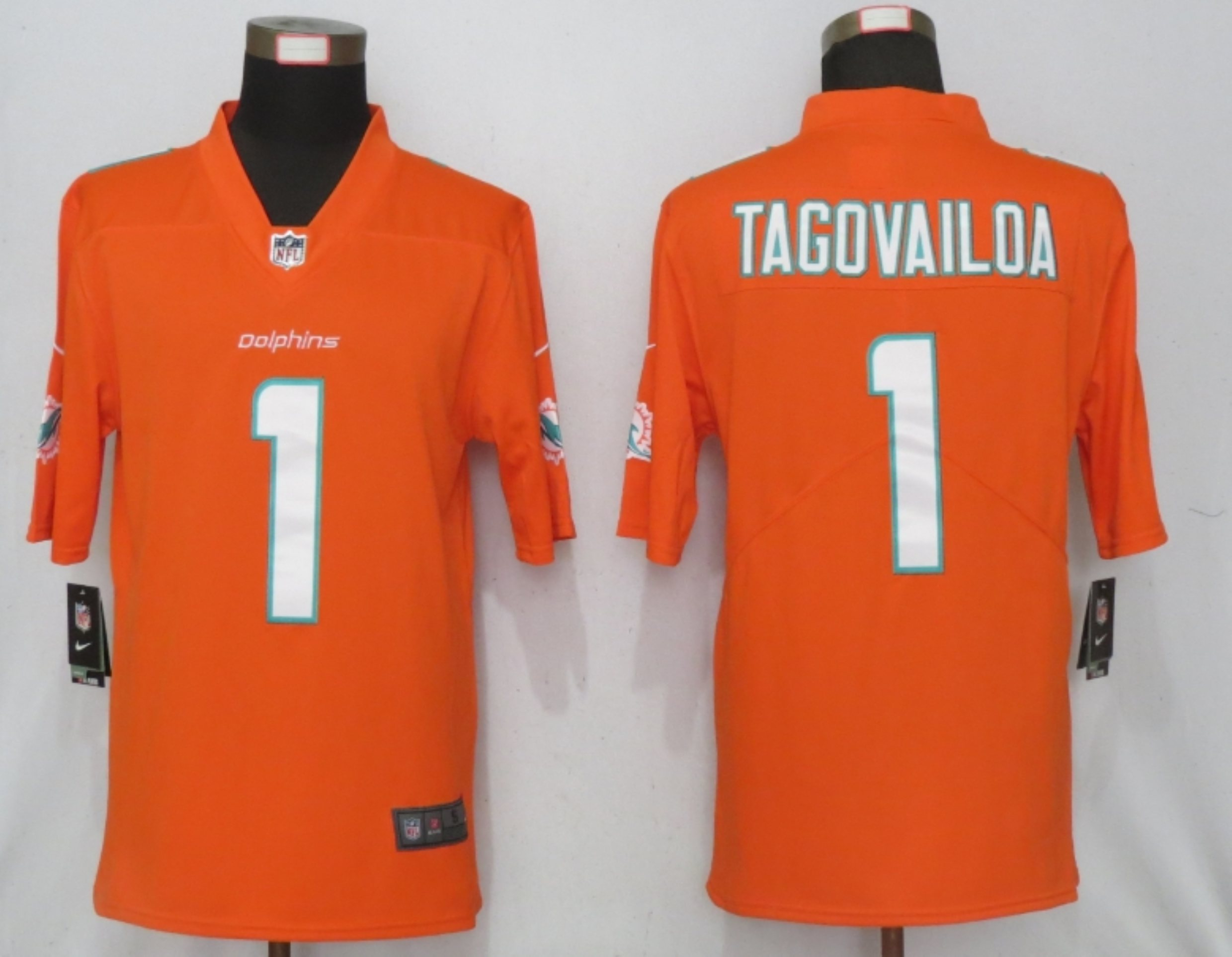 Men New Nike Miami Dolphins 1 Tagovailoa Orange 2020 Vapor Limited Jersey