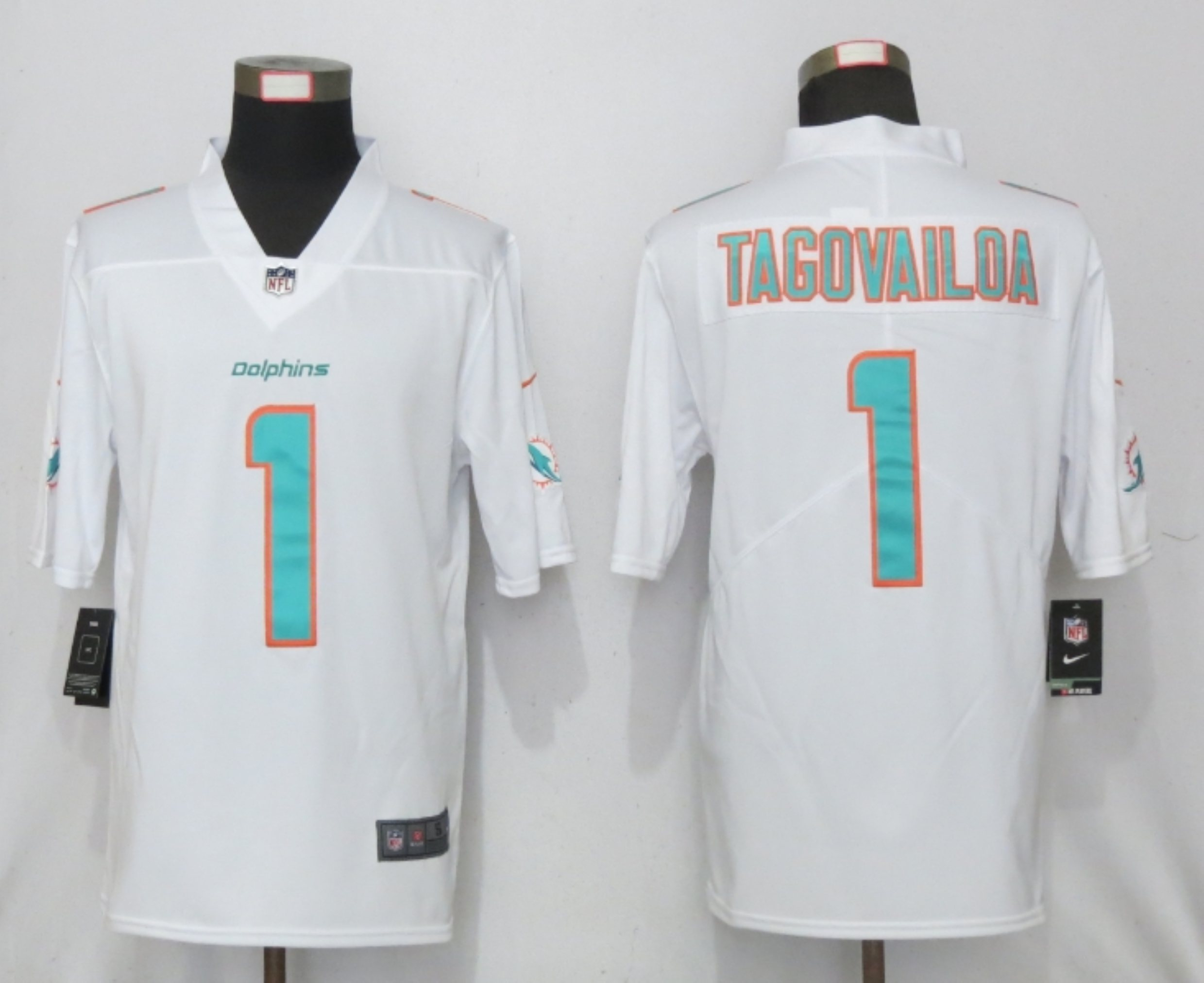 Men New Nike Miami Dolphins 1 Tagovailoa White 2020 Vapor Limited Jersey