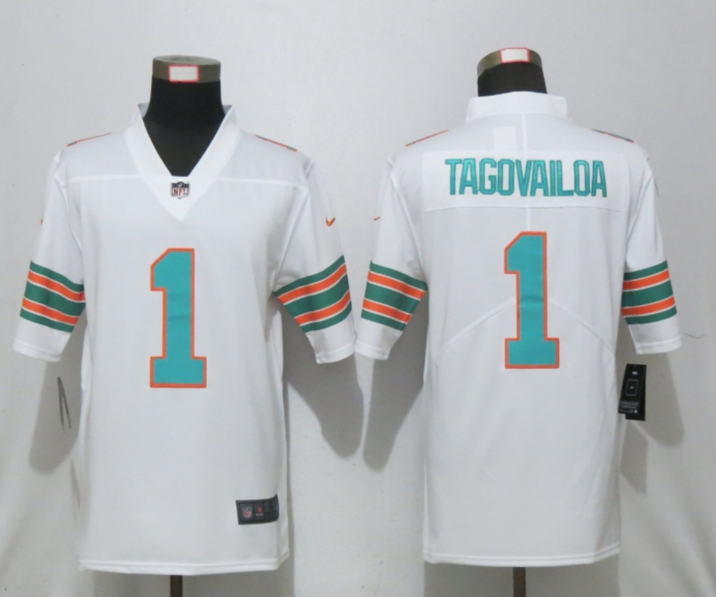 Men New Nike Miami Dolphins 1 Tagovailoa White 2nd Alternate Game Jersey