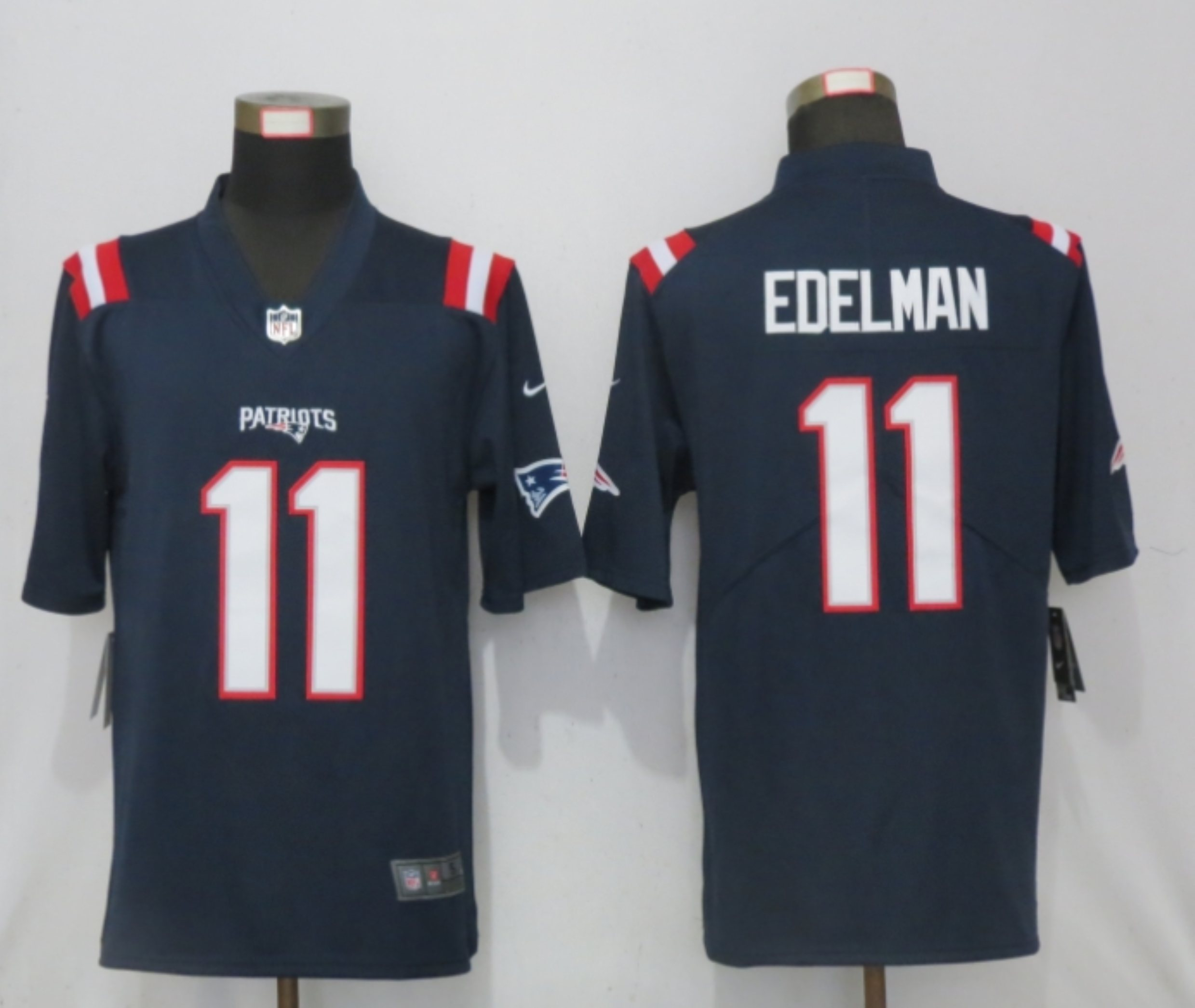 Men New Nike New England Patriots 11 Edelman Nike Blue Game Jersey