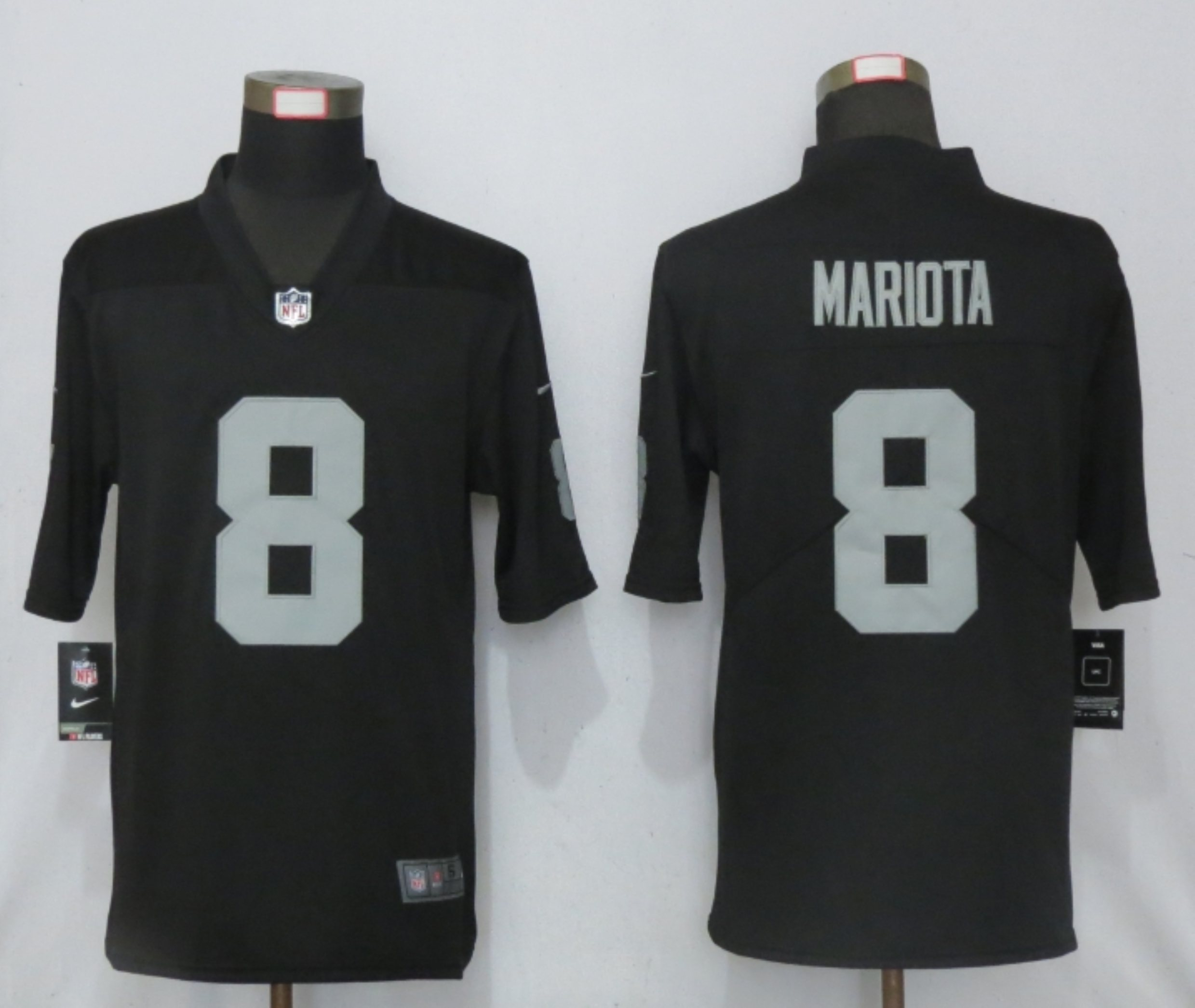 Men New Nike Oakland Raiders 8 Mariota Black 2020 Vapor Untouchable Limited Player