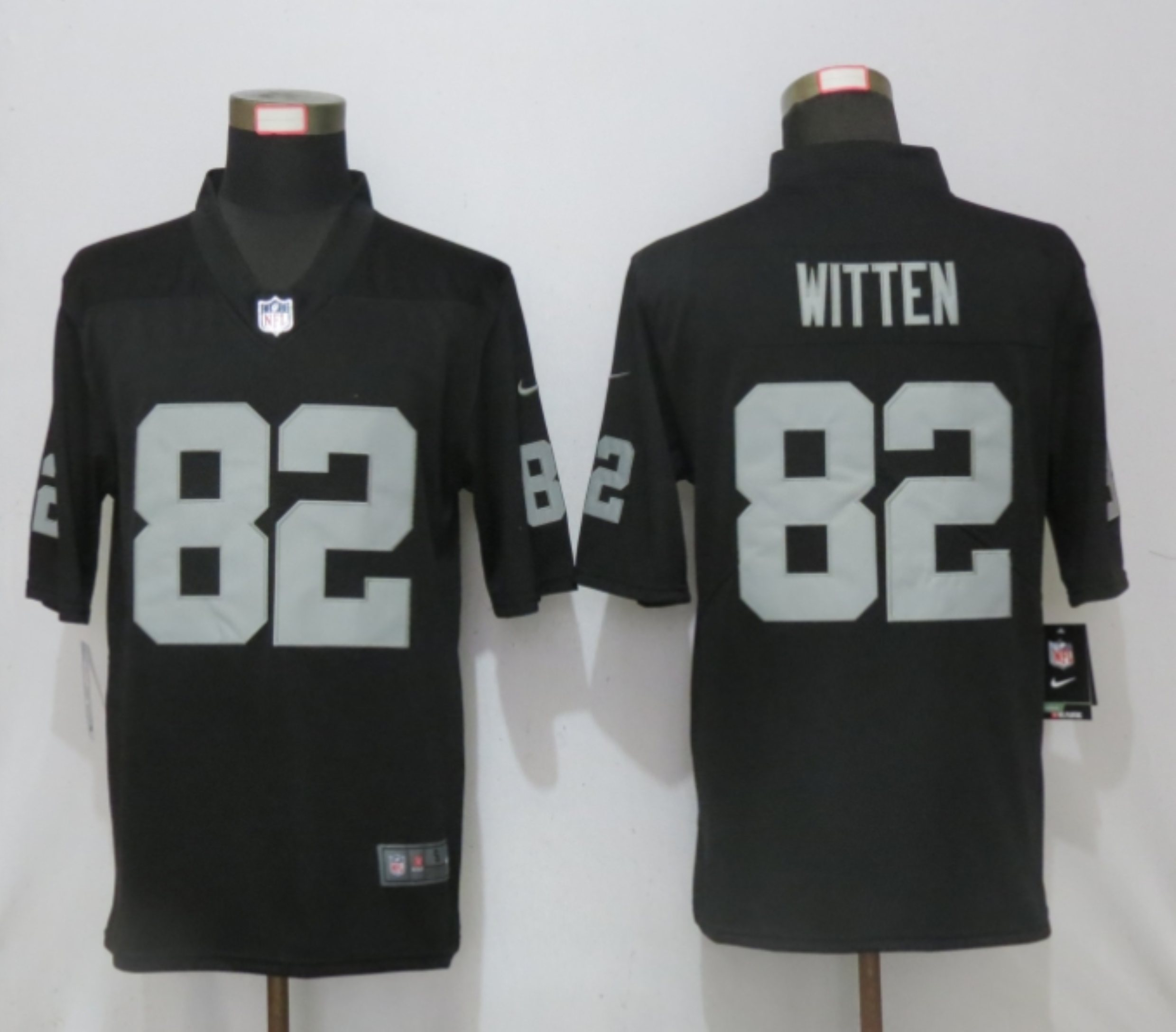 Men New Nike Oakland Raiders 82 Witten Black 2020 Vapor Untouchable Limited Player