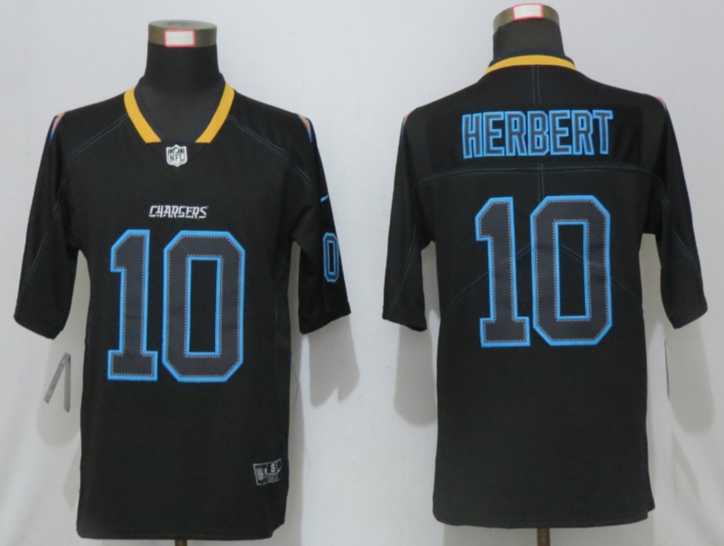 Men New Nike San Diego Chargers 10 Herbert Lights Out Black Elite Jerseys