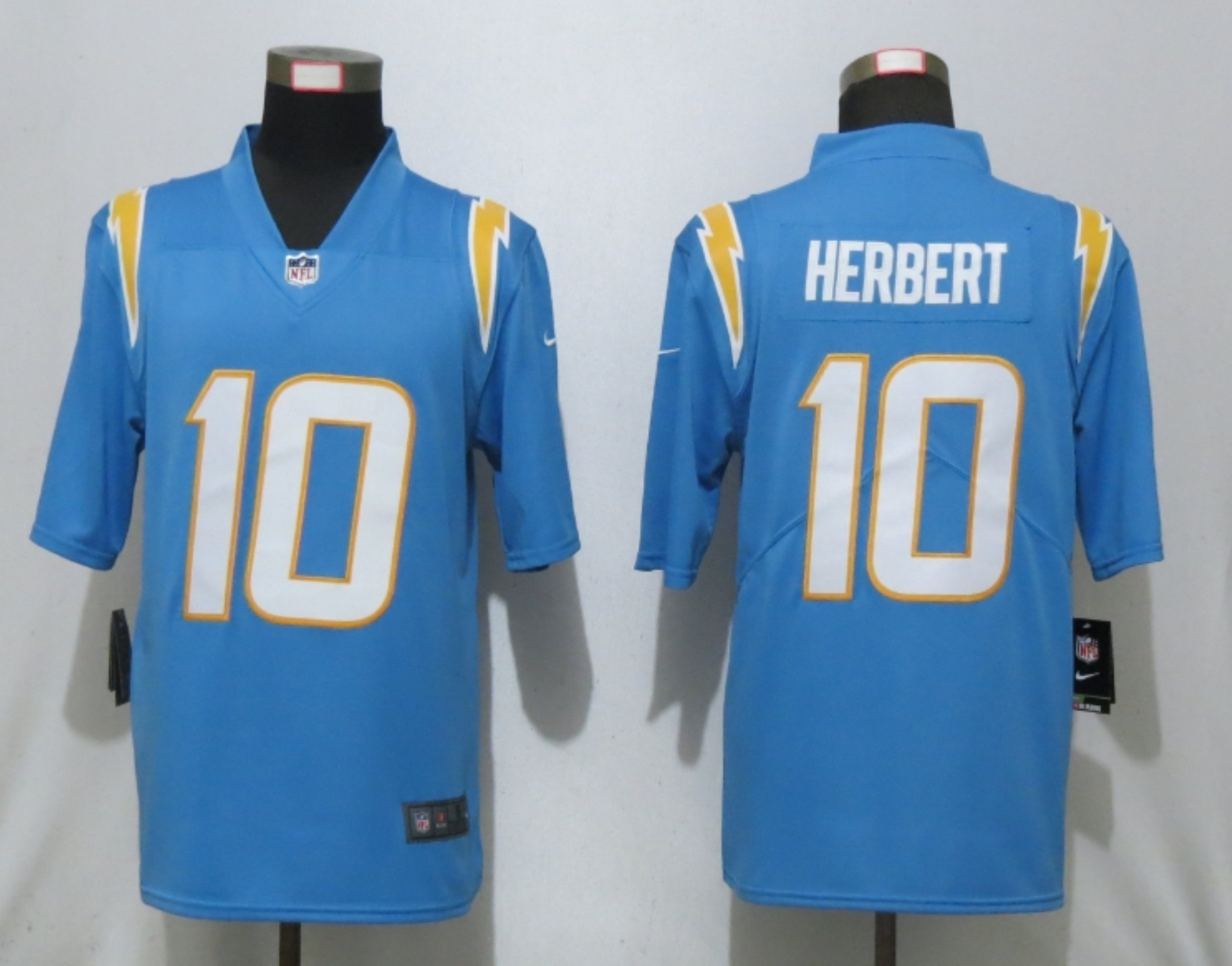 Men New Nike San Diego Chargers 10 Herbert Powder Blue Los Angeles 2020 NFL Draft First Round Pick Game Jersey