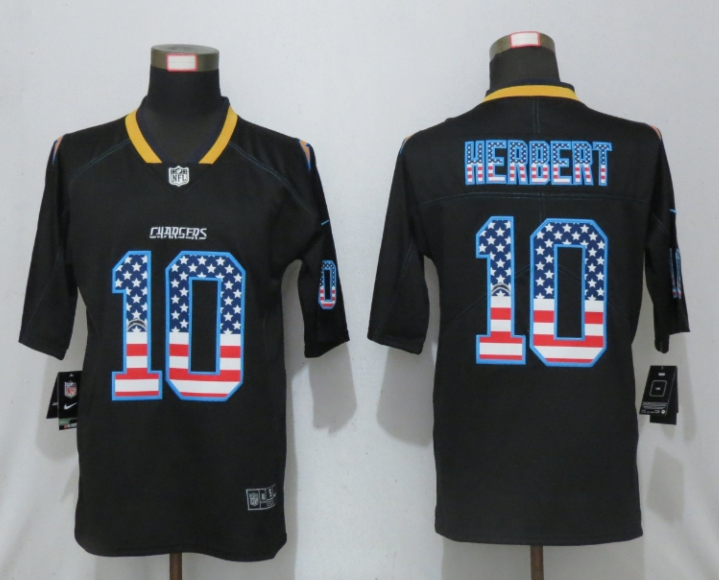 Men New Nike San Diego Chargers 10 Herbert USA Flag Fashion Black Elite Jersey