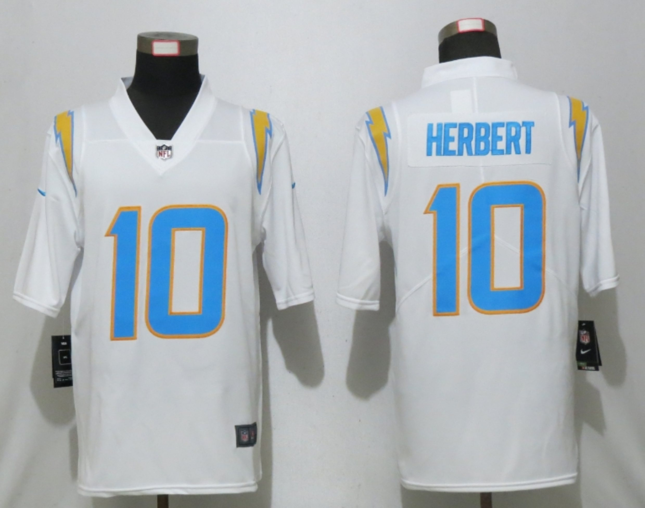 Men New Nike San Diego Chargers 10 Herbert White Los Angeles 2020 NFL Draft First Round Pick Game Jersey