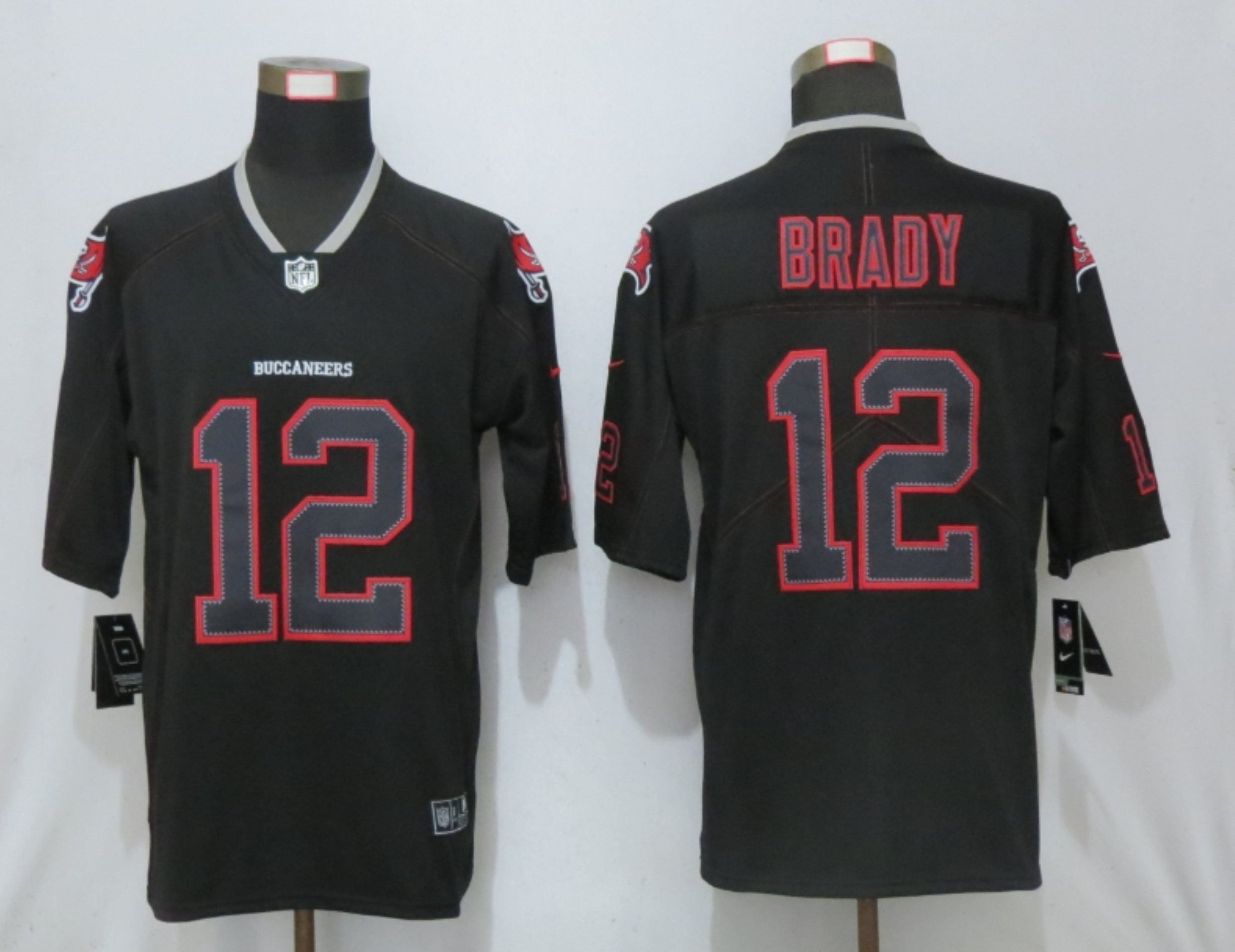 Men New Nike Tampa Bay Buccaneers 12 Brady Lights Out Black Elite Jerseys