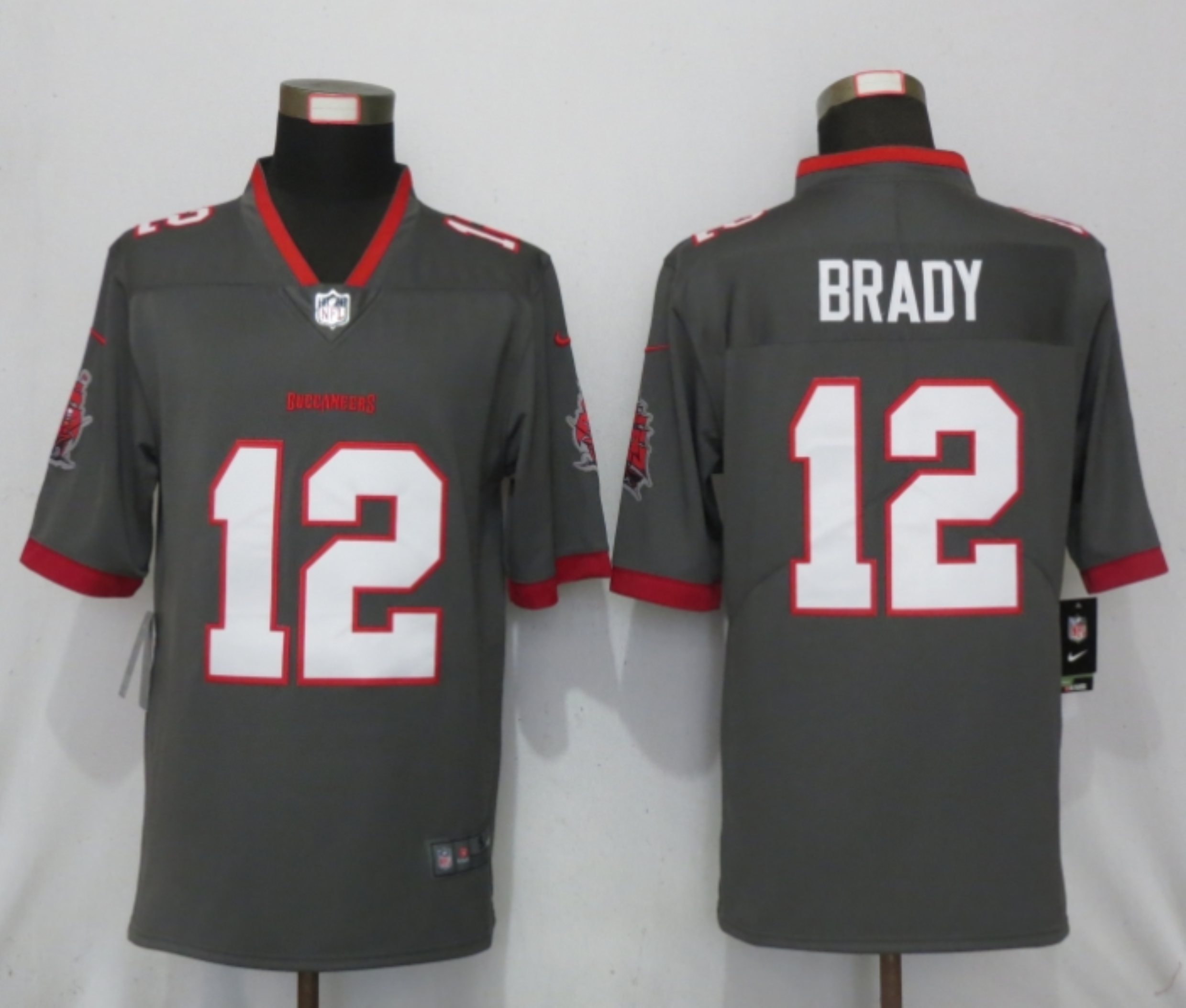 Men New Nike Tampa Bay Buccaneers 12 Brady Nike Pewter Alternate Vapor Limited Jersey