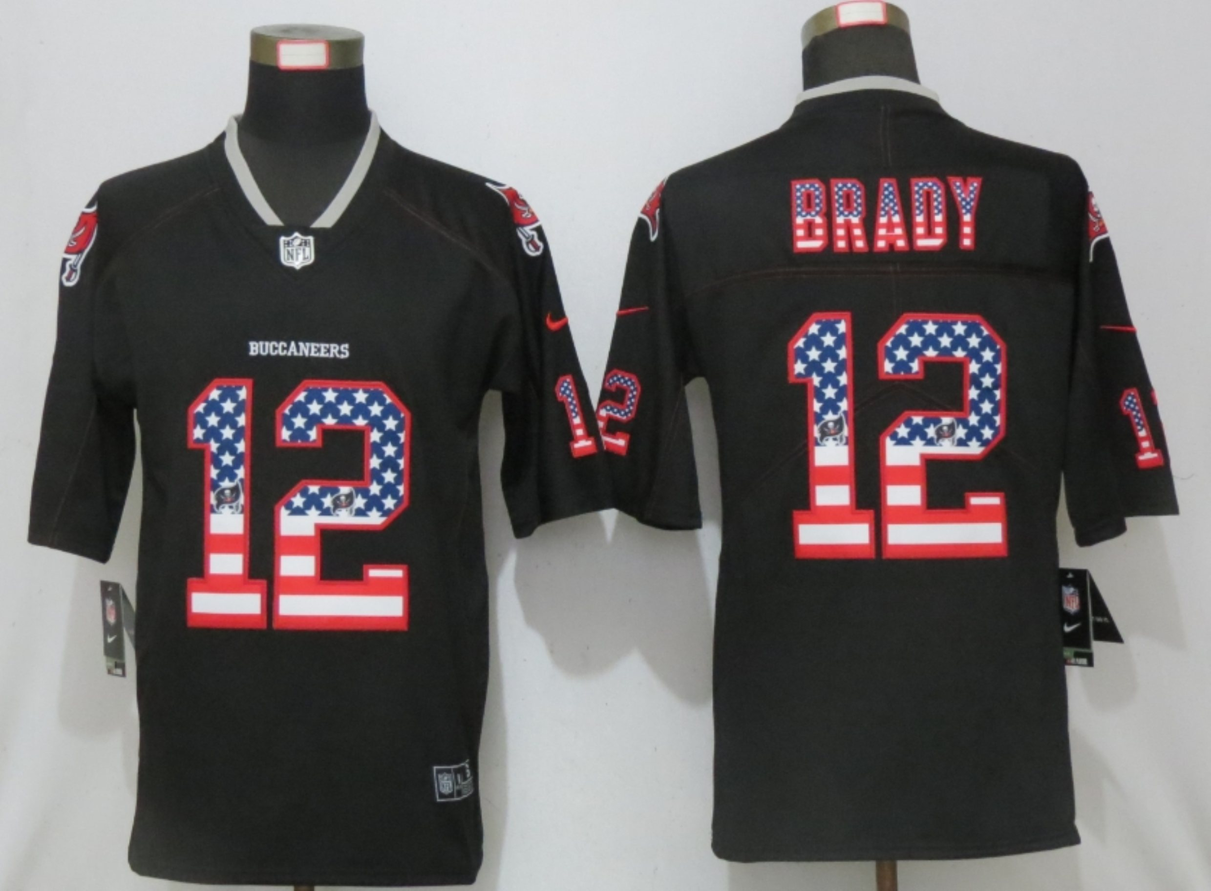 Men New Nike Tampa Bay Buccaneers 12 Brady USA Flag Fashion Black Elite Jersey