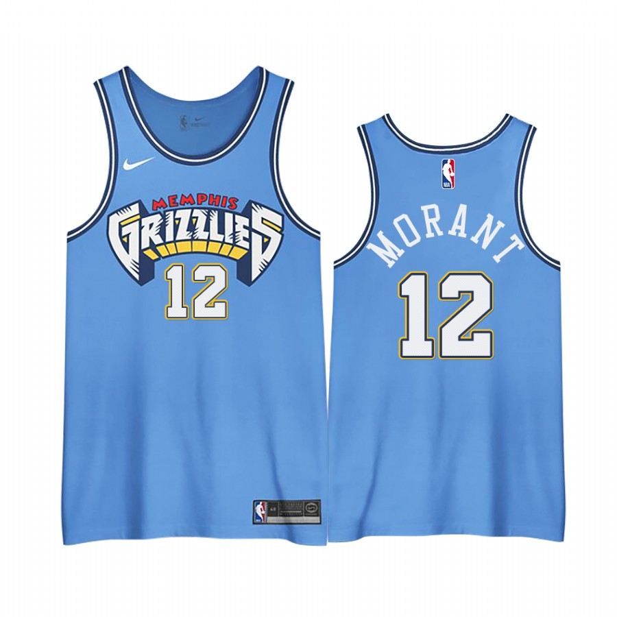 NBA Men Memphis Grizzlies 12 Morant Light Blue Nike city edition Jerseys