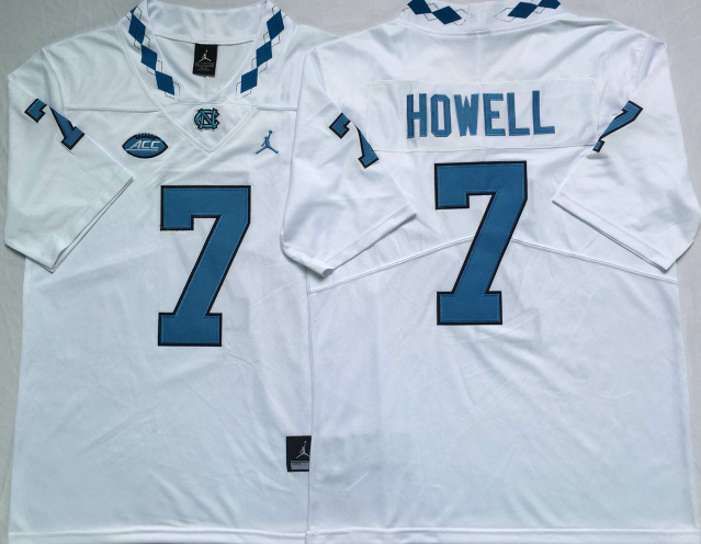 NCAA North Carolina Tar Heels 7 Howell white jerseys