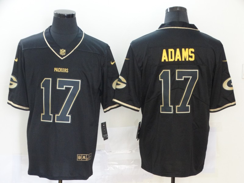 Nike Men Nike Green Bay Packers 17 Adams Black Gold Nike Stitched Vapor Untouchable Limited NFL Jersey