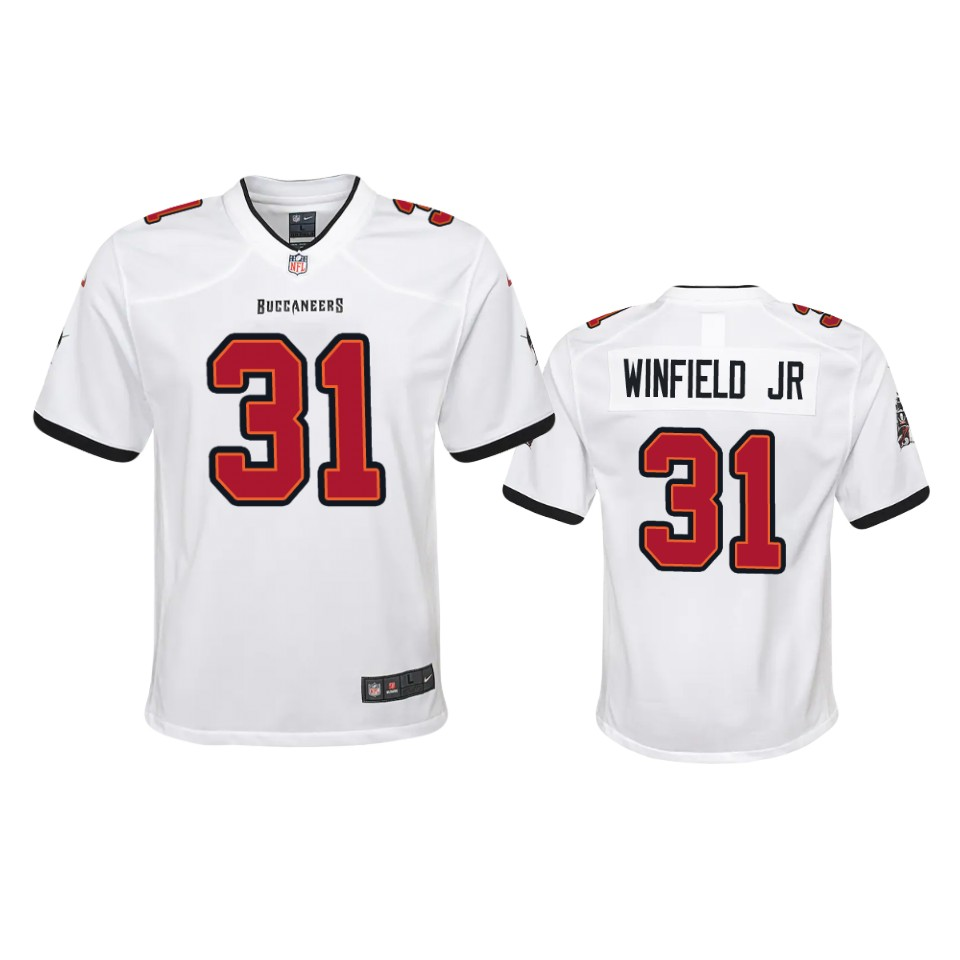 Nike YouthTampa Bay Buccaneers 31 Antoine Winfield Jr. White 2020 NFL Draft Game Jersey